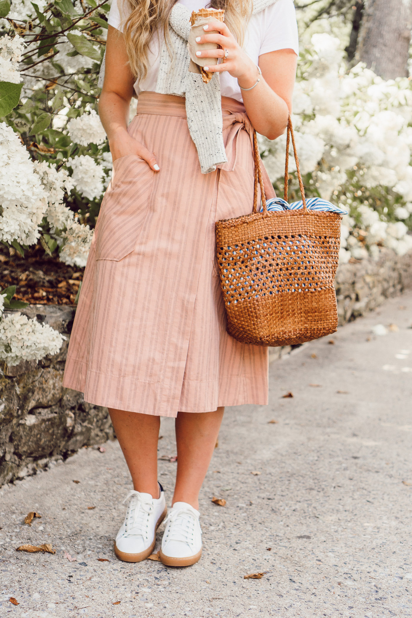 Casual Feminine Fall Style, Rebecca Taylor Striped Wrap Midi Skirt styled on Louella Reese