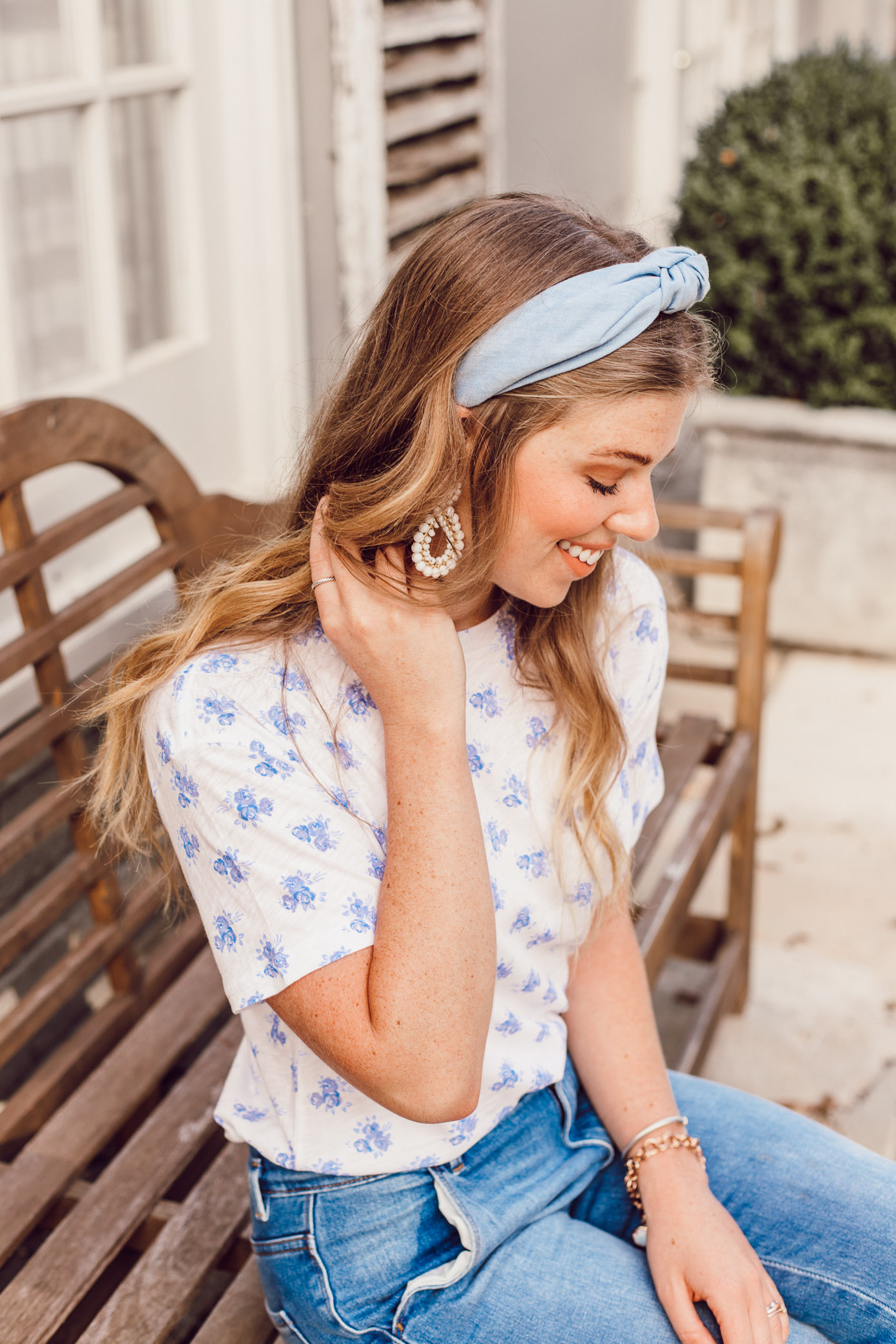Chambray Headband, J.Crew Floral Tee Shirt for Fall | Fashion Faux Pas or Time Tested Trend featured on Louella Reese Life & Style Blog