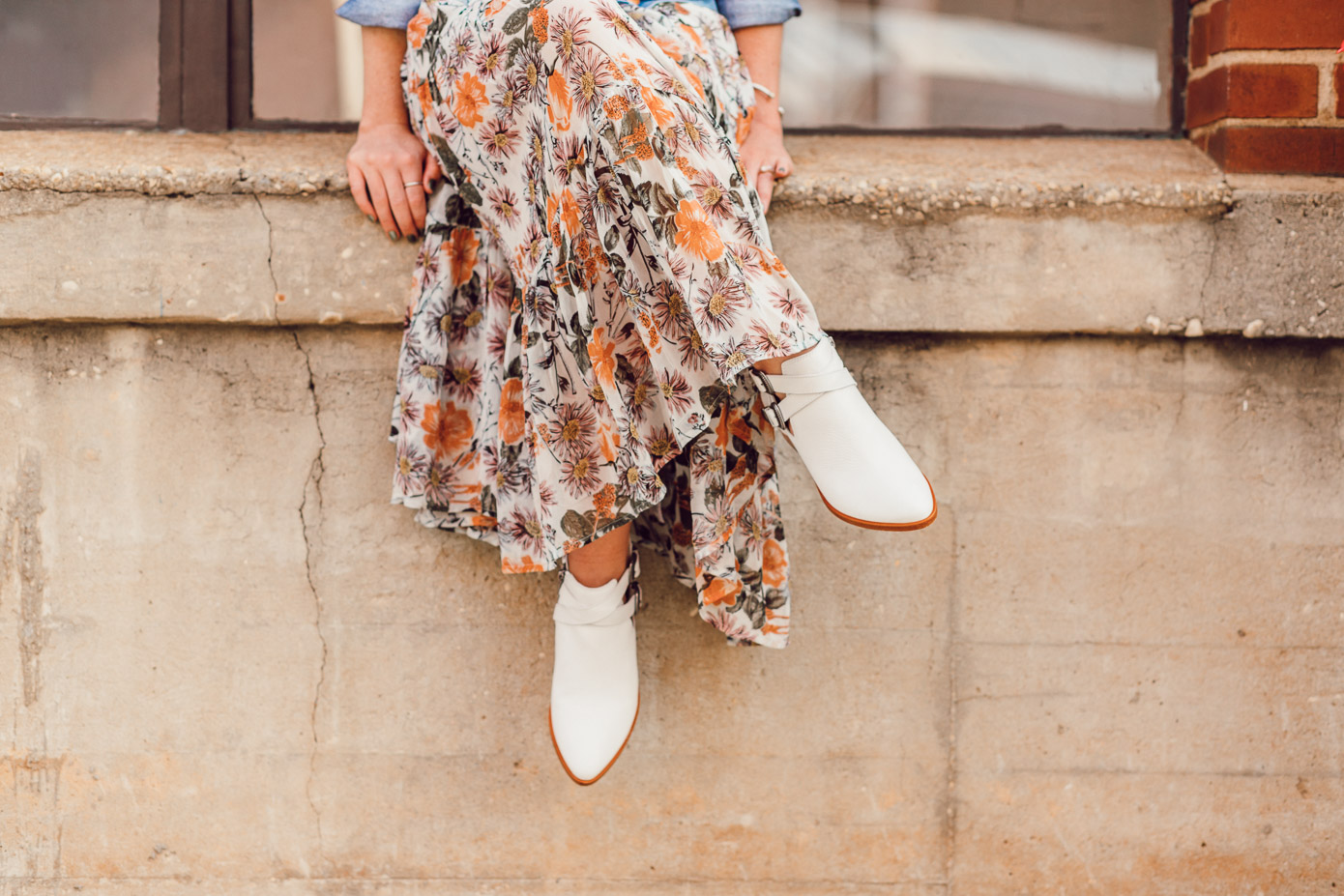Fall Floral Midi Dress, White Booties for Fall 2018 | How to Style the Western Trend for Fall 2018 featured on Louella Reese Blog