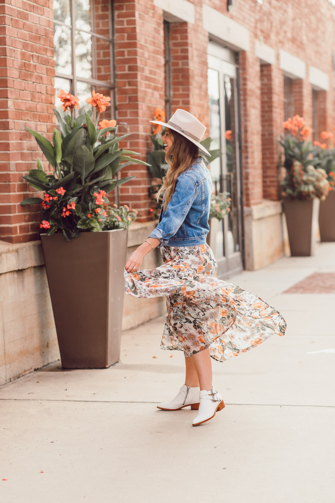 Fall Floral Midi Dress, White Booties for Fall 2018 | How to Style the Western Trend for Fall 2018 featured on Louella Reese