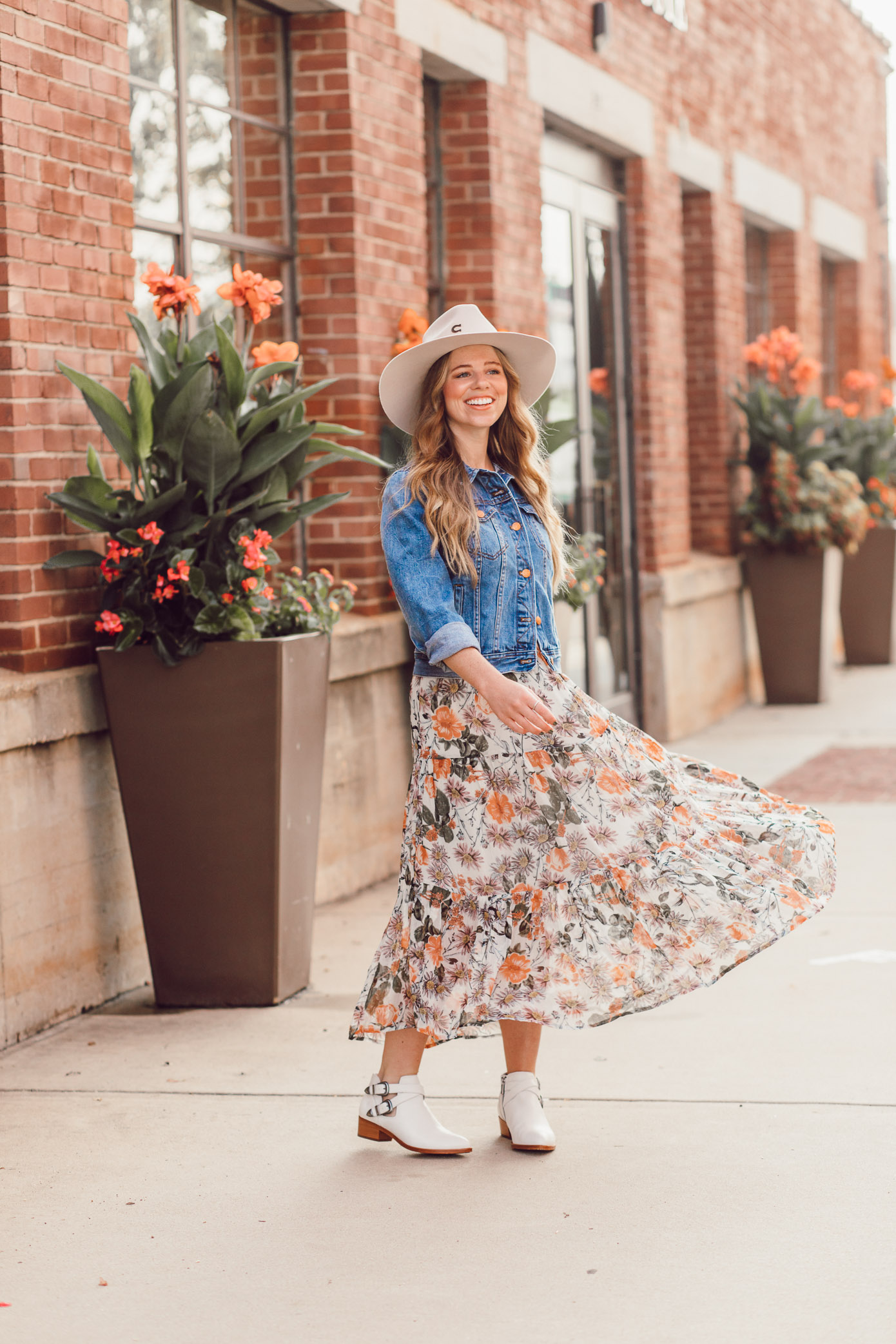 Fall Floral Midi Dress, Frye Ray Western Shootie Ankle Bootie | How to Style the Western Trend for Fall 2018 featured on Louella Reese Blog