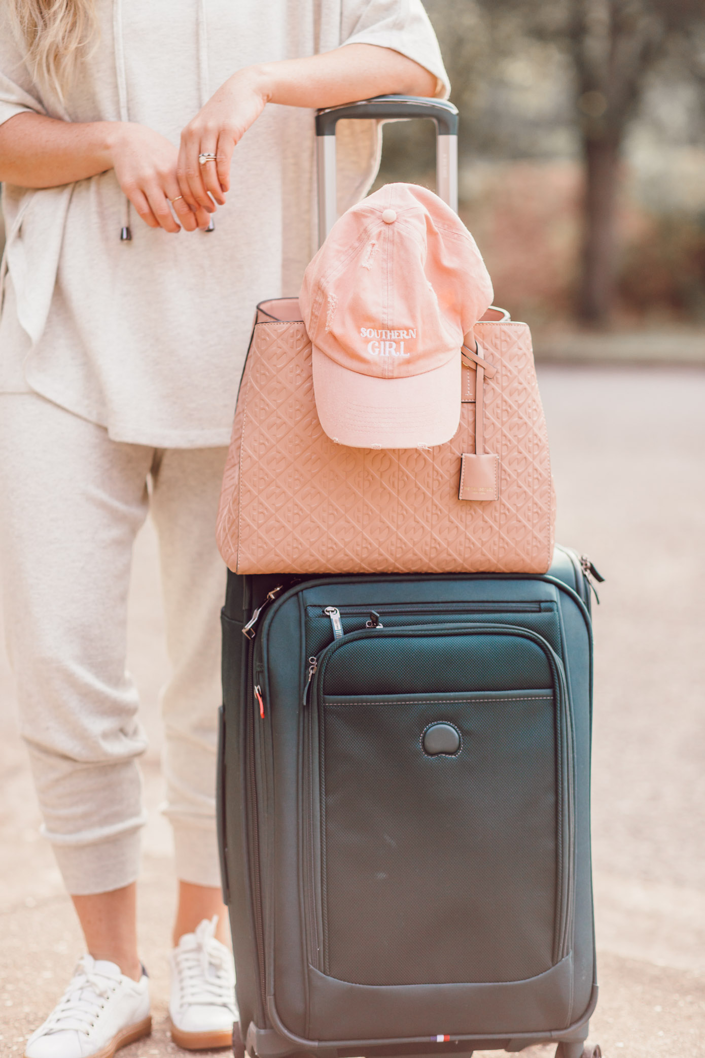 Hunter Green Luggage, Blush Tote Bag | Cozy Fall Travel Style featured on Louella Reese