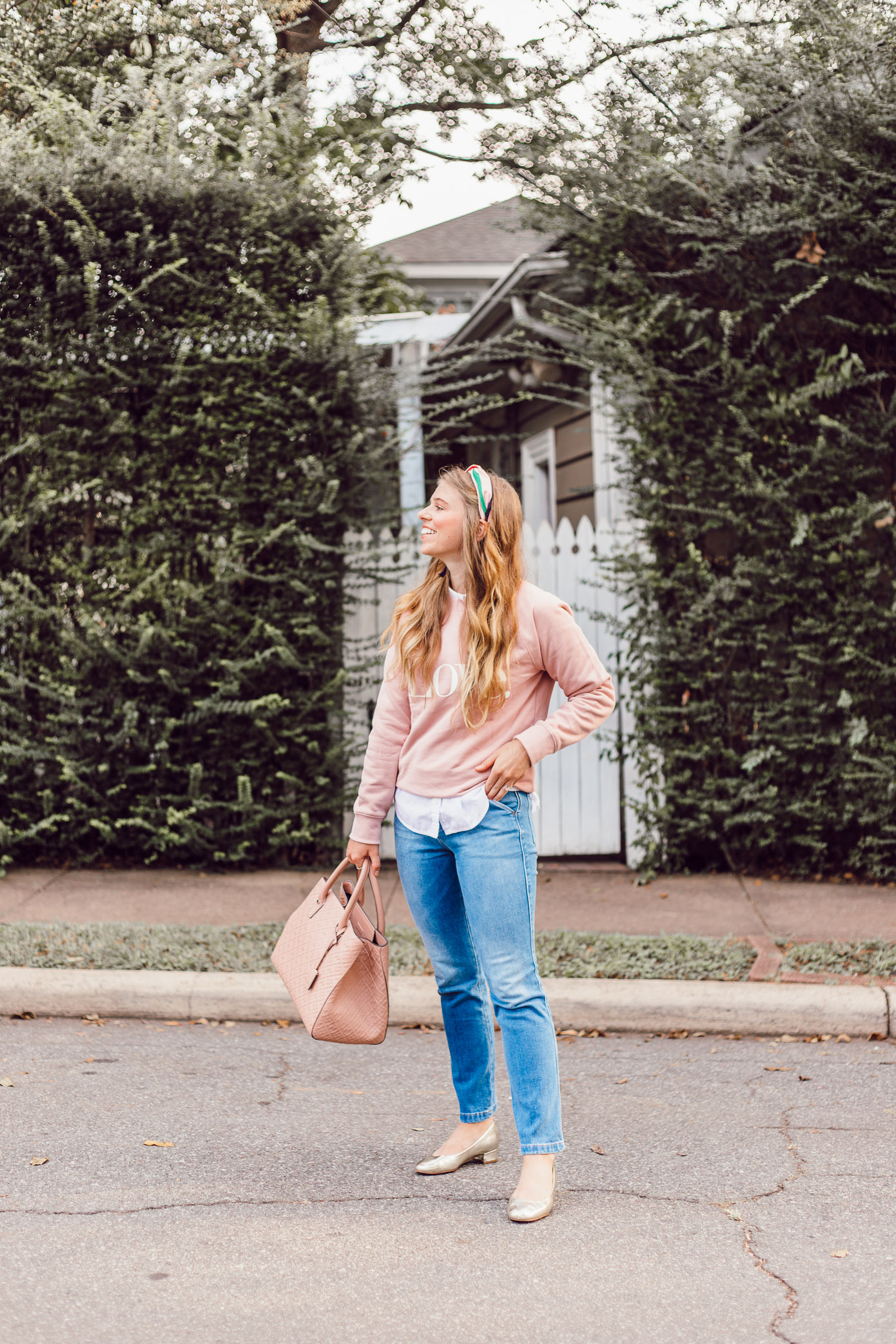 Love Graphic Sweatshirt | How to Style a Sweatshirt for a Feminine Look featured on Louella Reese Blog