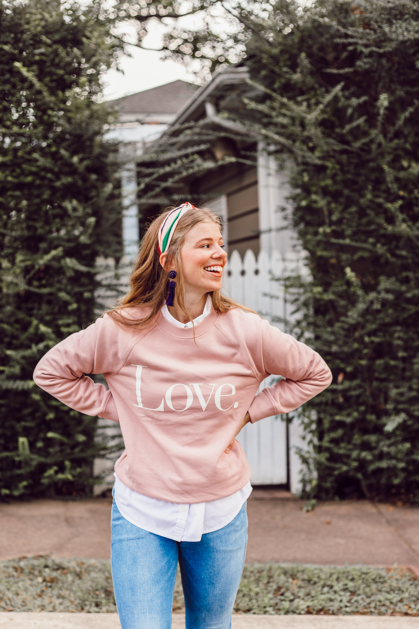 J.Crew Love Graphic Sweatshirt | How to Style a Sweatshirt for a Feminine Look featured on Louella Reese Life & Style Blog