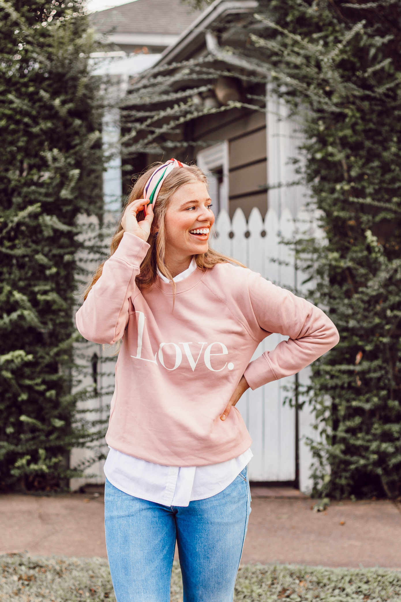J.Crew Love Graphic Sweatshirt | How to Style a Sweatshirt for a Feminine Look featured on Louella Reese Blog