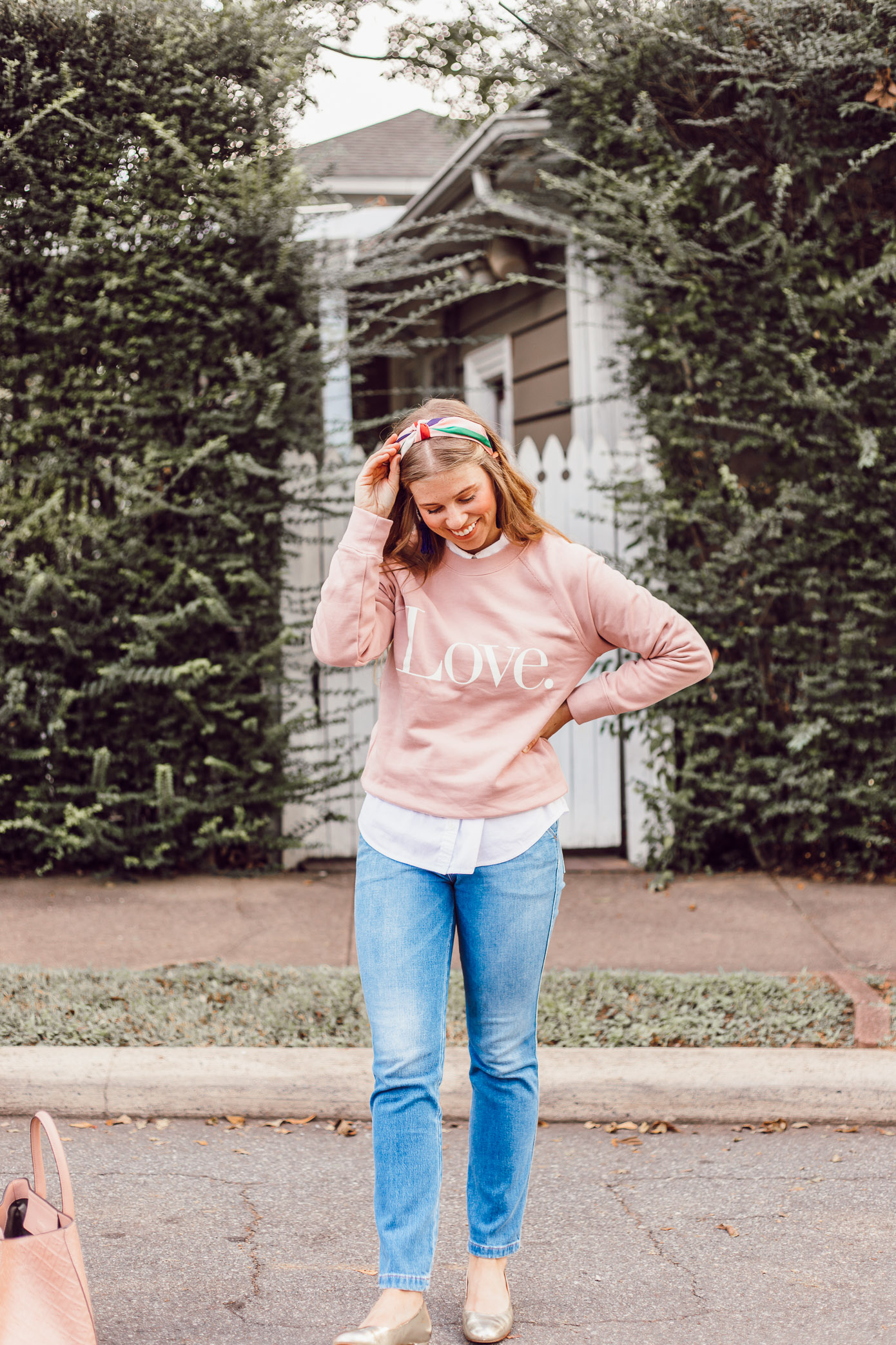 J.Crew Love Graphic Sweatshirt | How to Style a Sweatshirt for a Feminine Look featured on Louella Reese