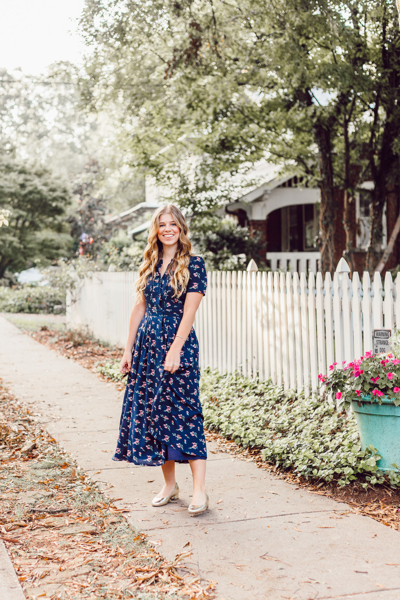 Savoring Fall and the Navy Floral Midi Dress to Wear While Doing So featured on Louella Reese Life & Style Blog