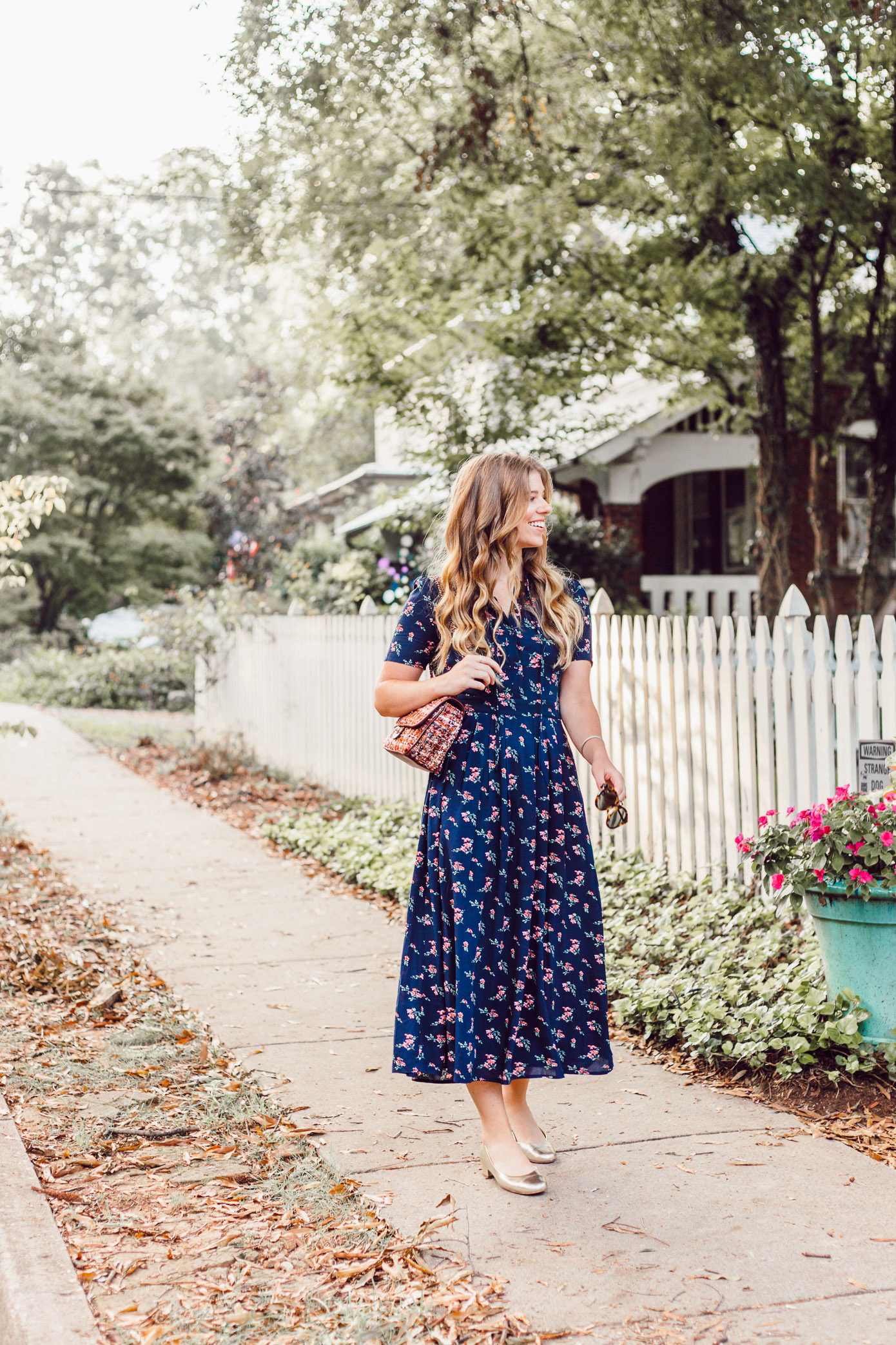 Savoring Fall and the Navy Floral Midi Dress to Wear While Doing So featured on Louella Reese