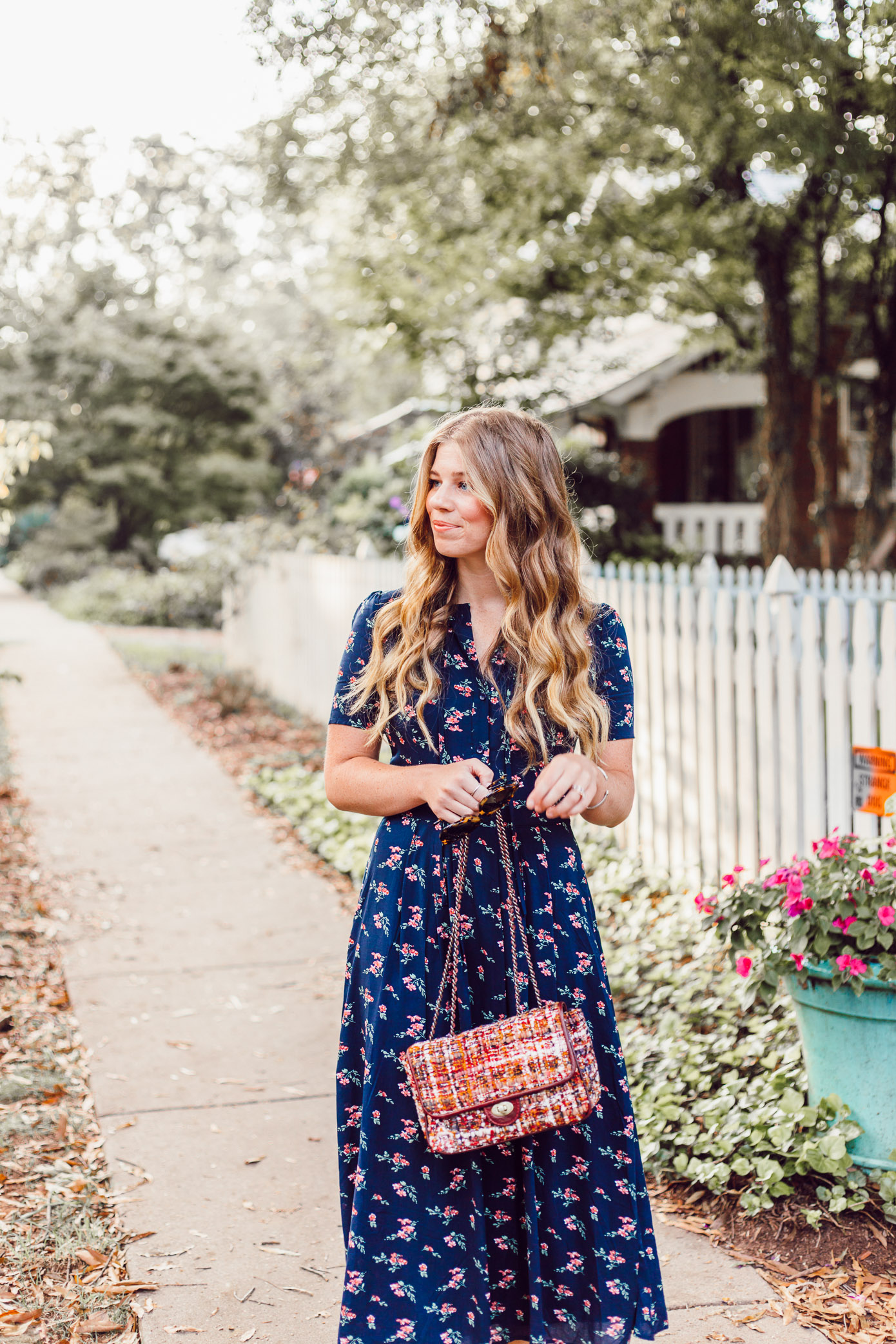Savoring Fall and the Navy Floral Midi Dress to Wear While Doing So featured on Louella Reese Blog