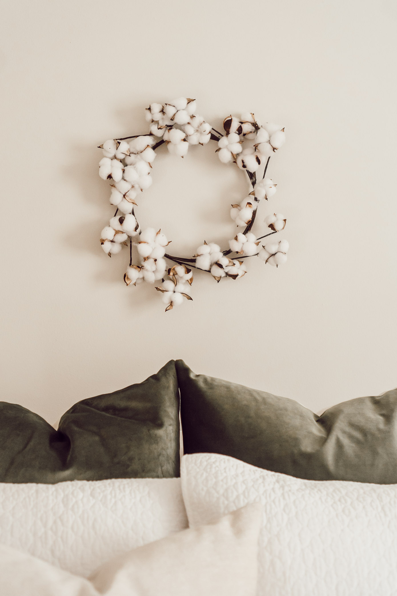 Cotton Wreath, Neutral Fall Bedroom Decor | 4 Essentials For Making Your Bedroom Fall Ready - Louella Reese Life & Style Blog