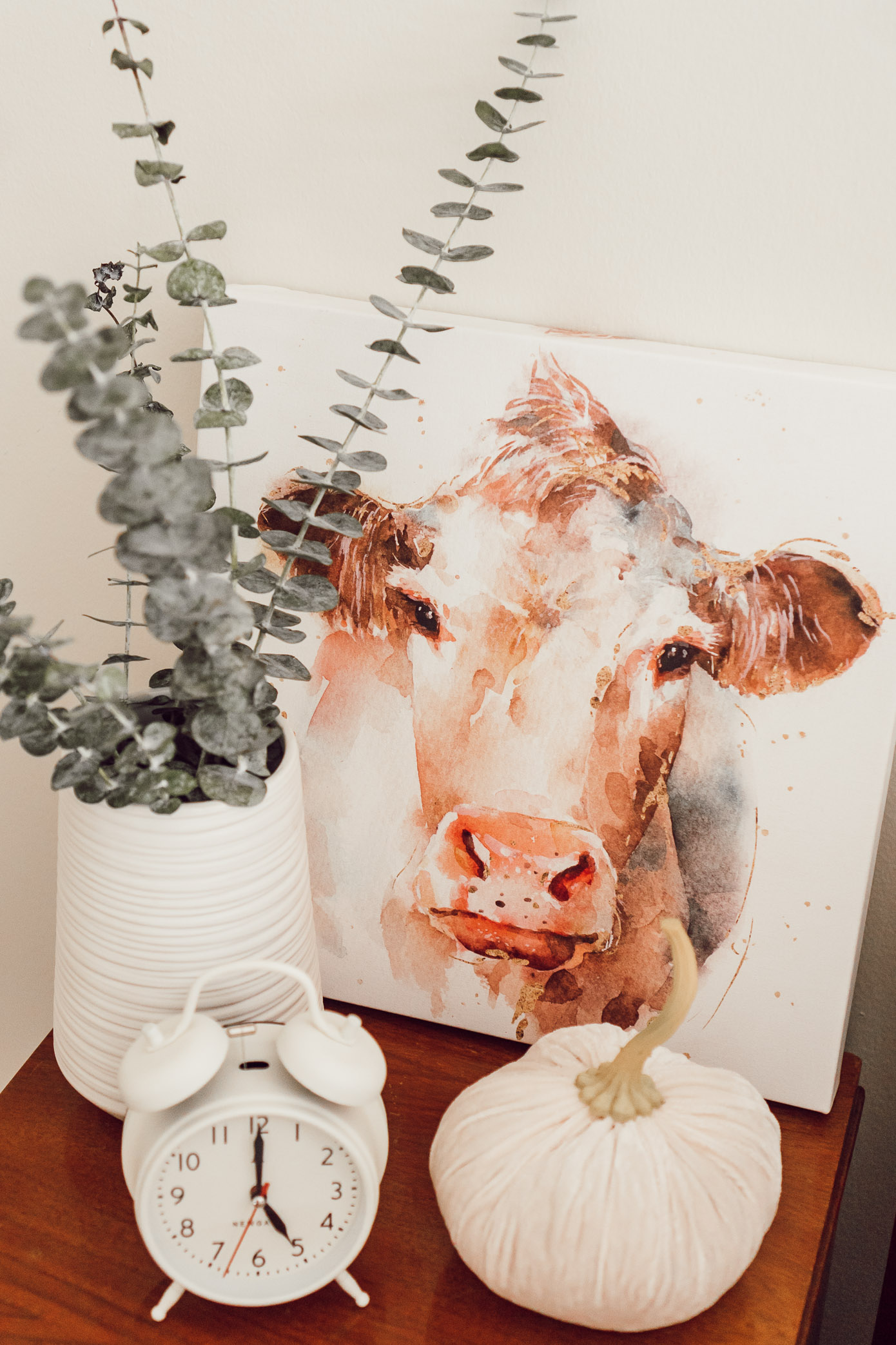 Cow Canvas, Neutral Fall Bedroom Decor | 4 Essentials For Making Your Bedroom Fall Ready - Louella Reese Life & Style Blog