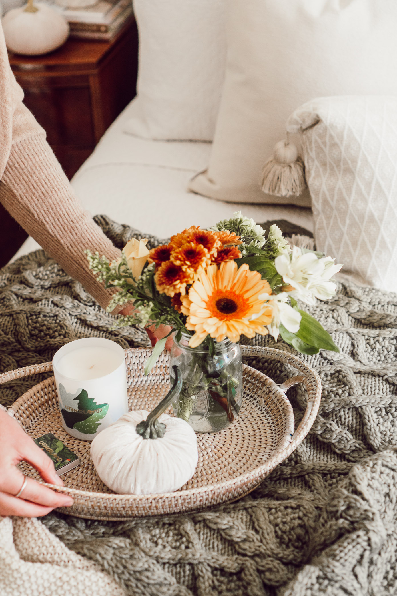 Fall Florals, Neutral Fall Bedroom Decor | 4 Essentials For Making Your Bedroom Fall Ready - Louella Reese Blog