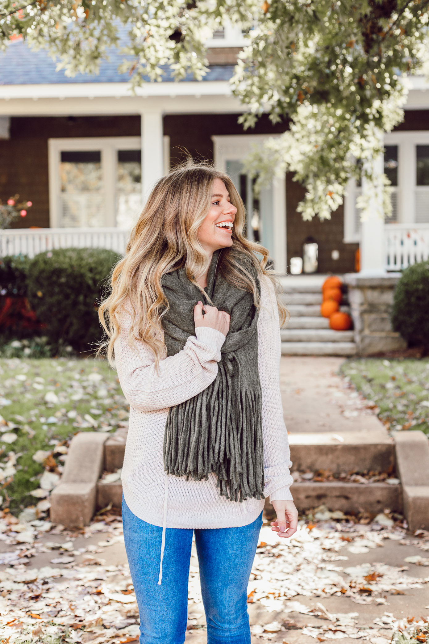 The BEST Oversized Scarves to Shop Now featured on Louella Reese | Anthropologie Olive Green Scarf