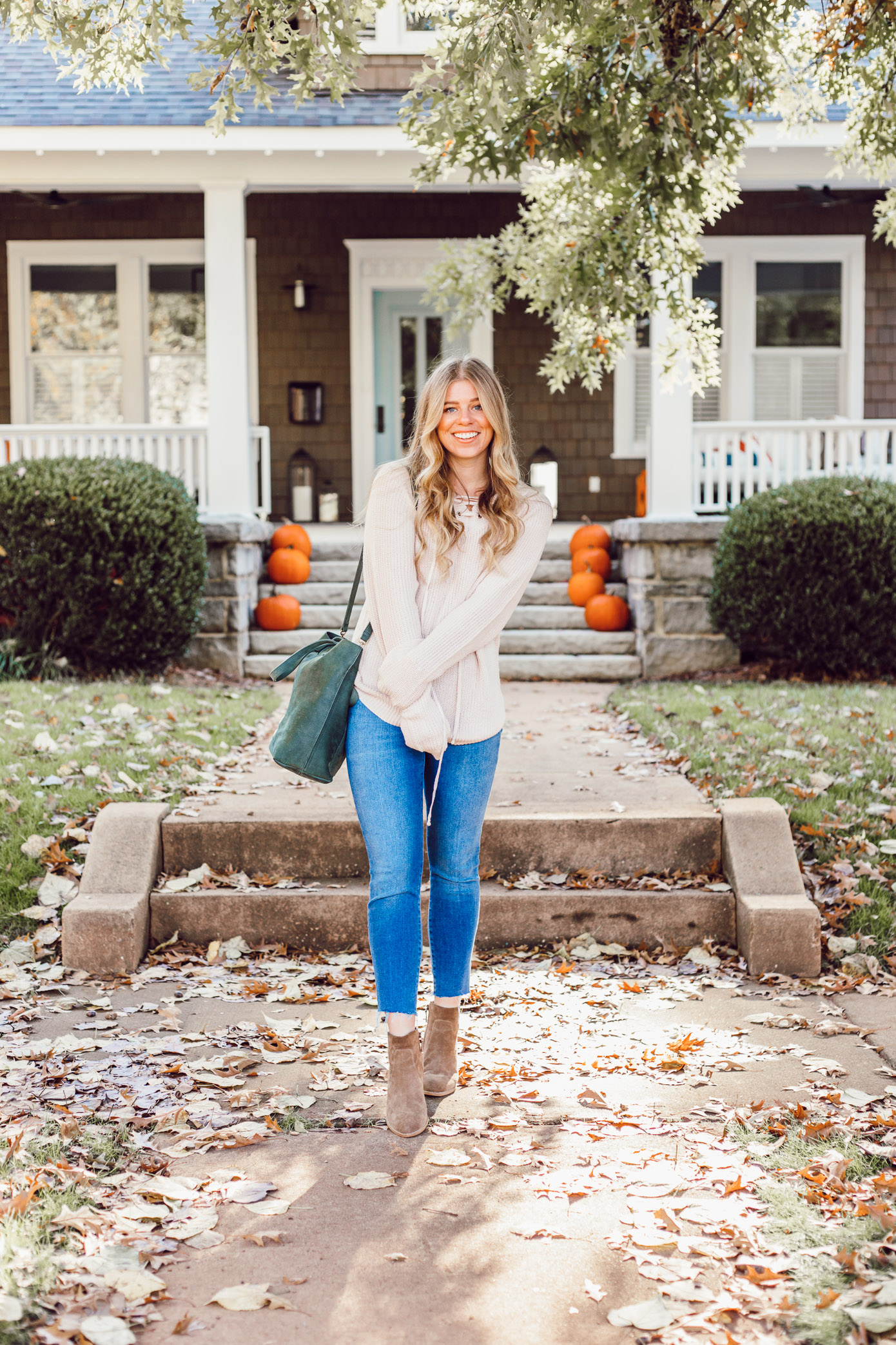 The BEST Oversized Scarves to Shop Now featured on Louella Reese Life & Style Blog | Blush Lace-Up Sweater, Madewell Transport Tote
