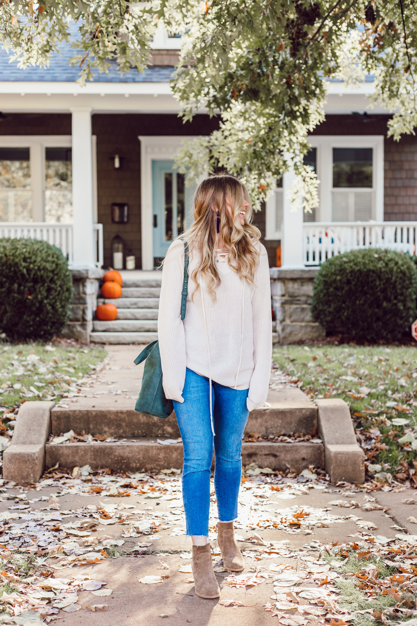 The BEST Oversized Scarves to Shop Now featured on Louella Reese Life & Style Blog | Blush Lace-Up Sweater