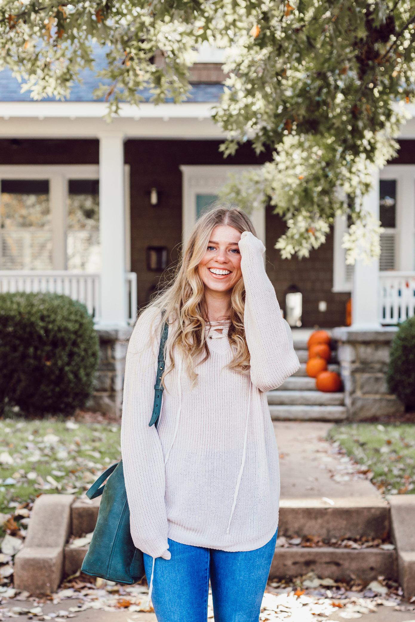 The BEST Oversized Scarves to Shop Now featured on Louella Reese | Blush Lace-Up Sweater, Madewell Transport Tote