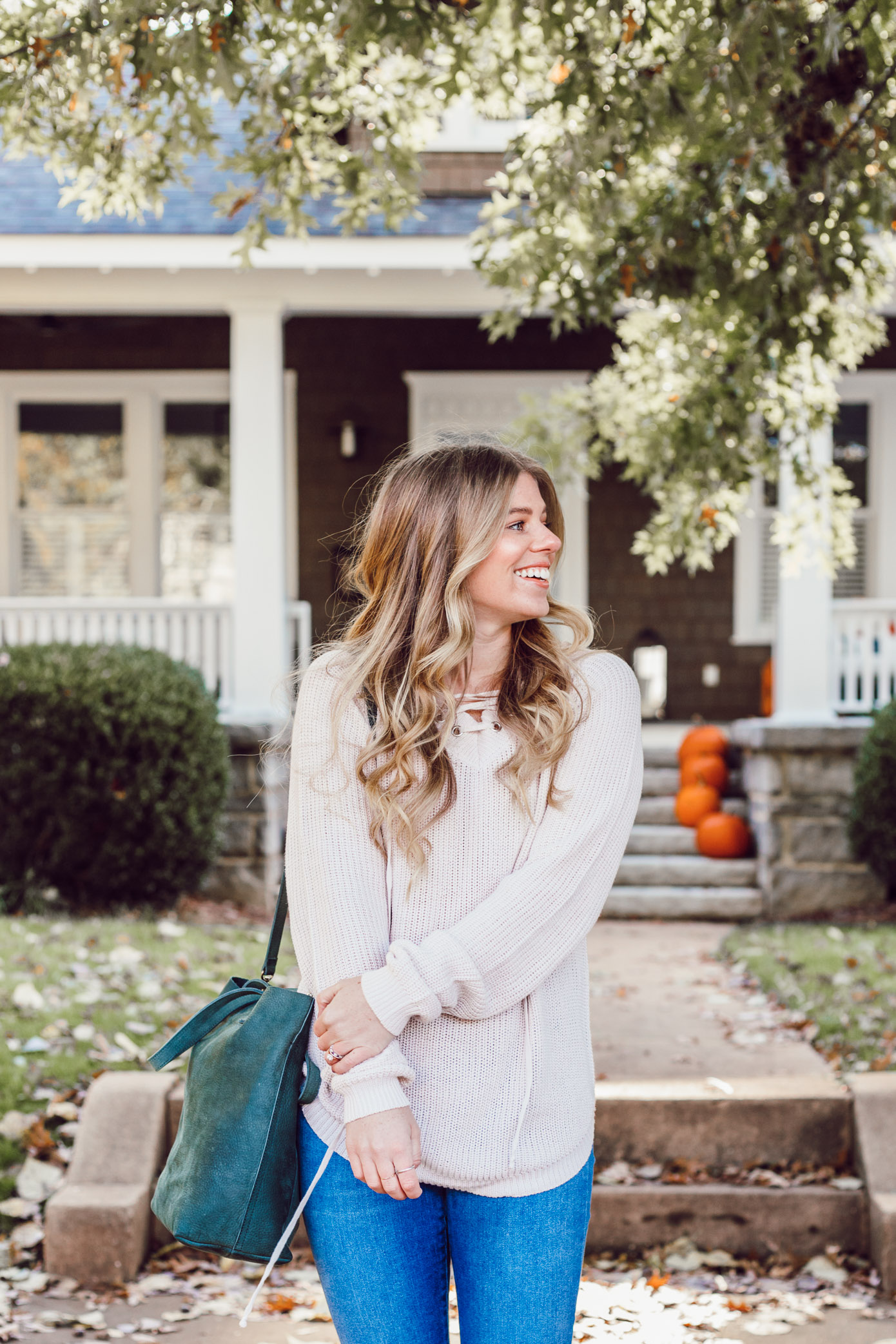 The BEST Oversized Scarves to Shop Now featured on Louella Reese Blog | Blush Lace-Up Sweater