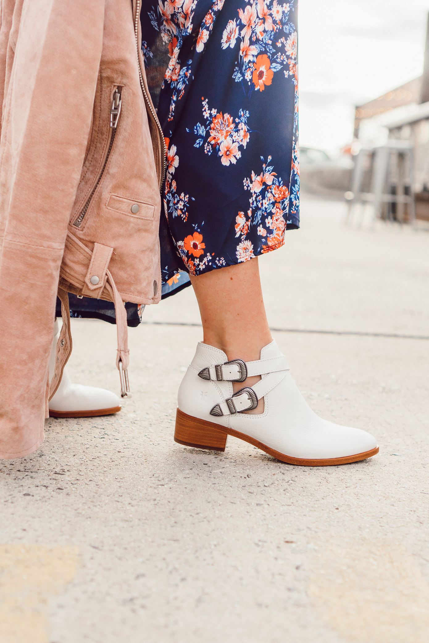 White Booties for Fall, Blush Suede Moto Jacket | 2018 Fall Jackets featured on Louella Reese Life & Style Blog