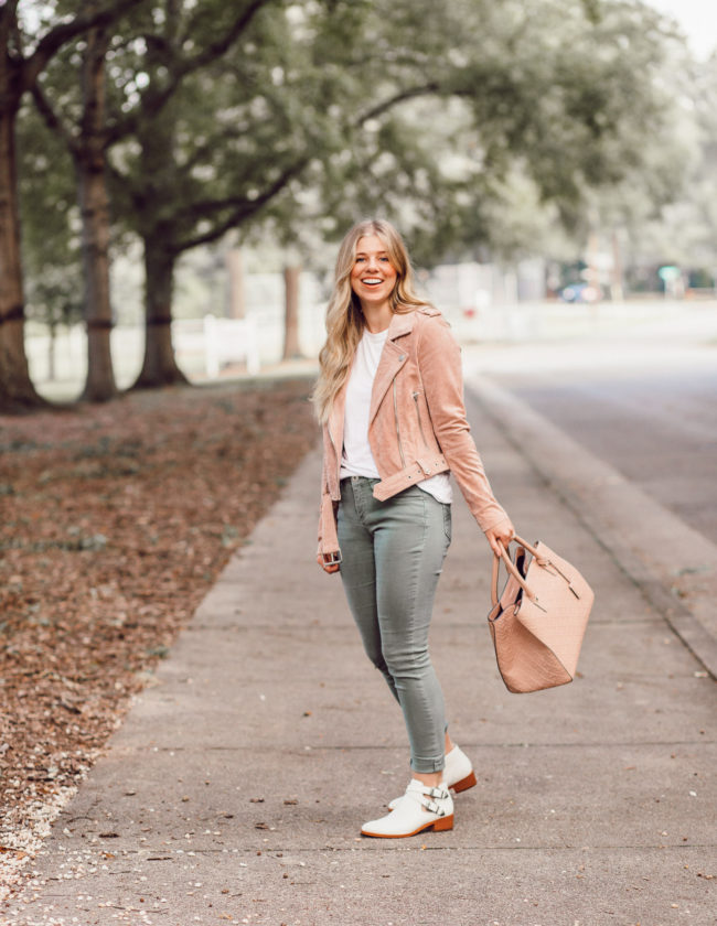 Blush Suede Moto Jacket | 2018 Fall Jackets featured on Louella Reese Blog