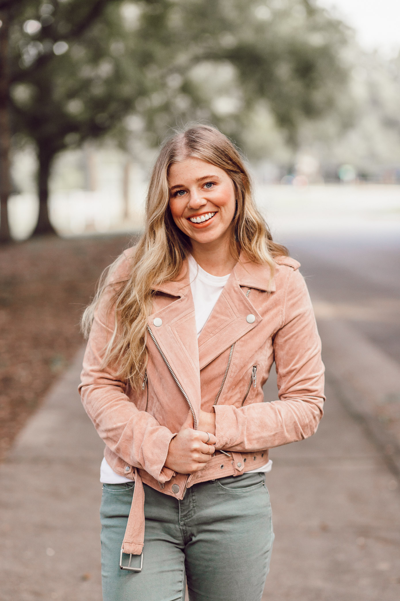 Blush Suede Moto Jacket | 2018 Fall Jackets featured on Louella Reese Life & Style Blog