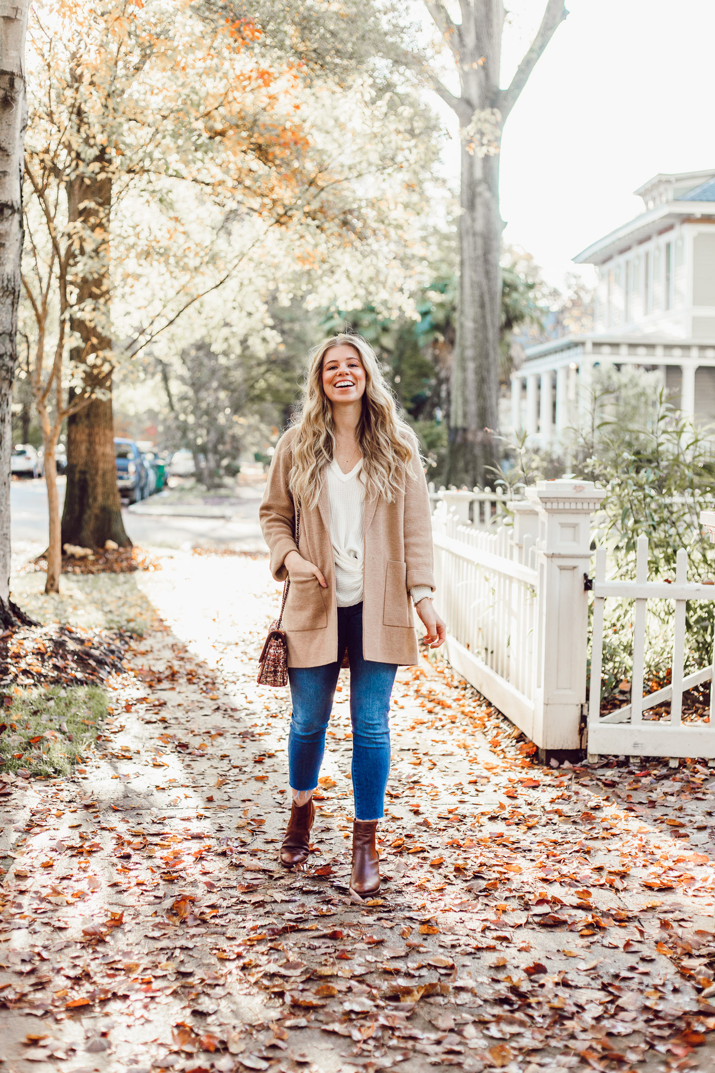 What to Wear to Friendsgiving | Knotted Front Waffle Top, Casual Sweater Blazer featured on Louella Reese Life & Style Blog