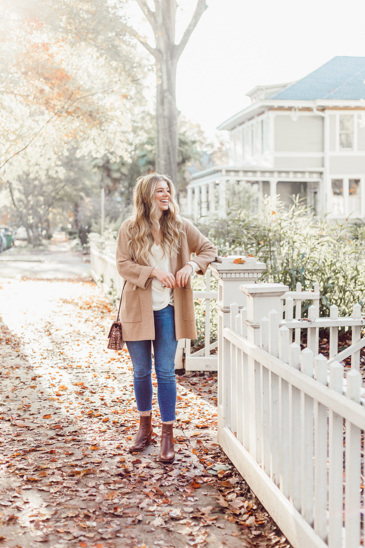 Casual Thanksgiving Outfit Inspiration | Casual Sweater Blazer featured on Louella Reese Blog