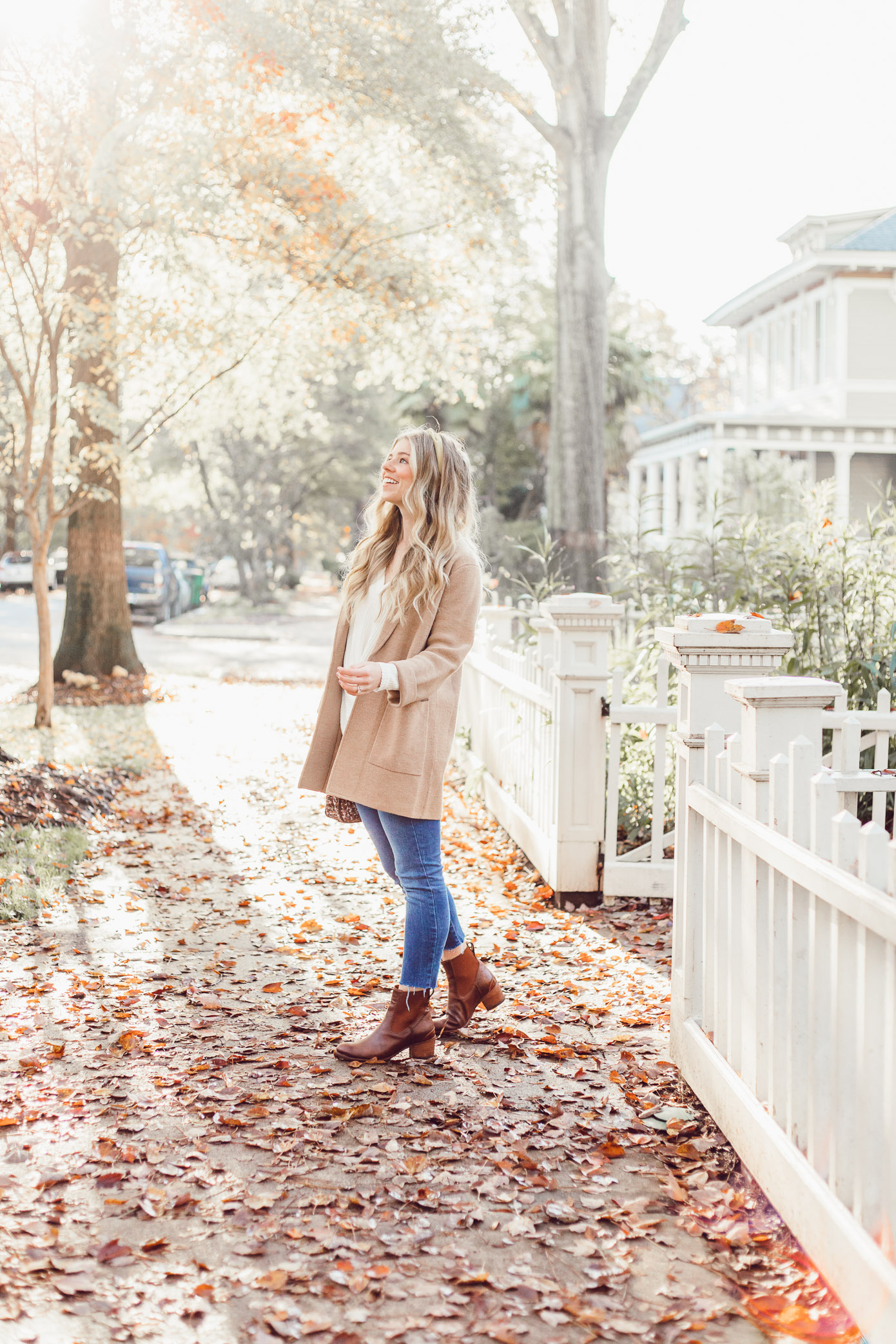 What to Wear to Friendsgiving | Knotted Front Waffle Top, Casual Sweater Blazer featured on Louella Reese Blog