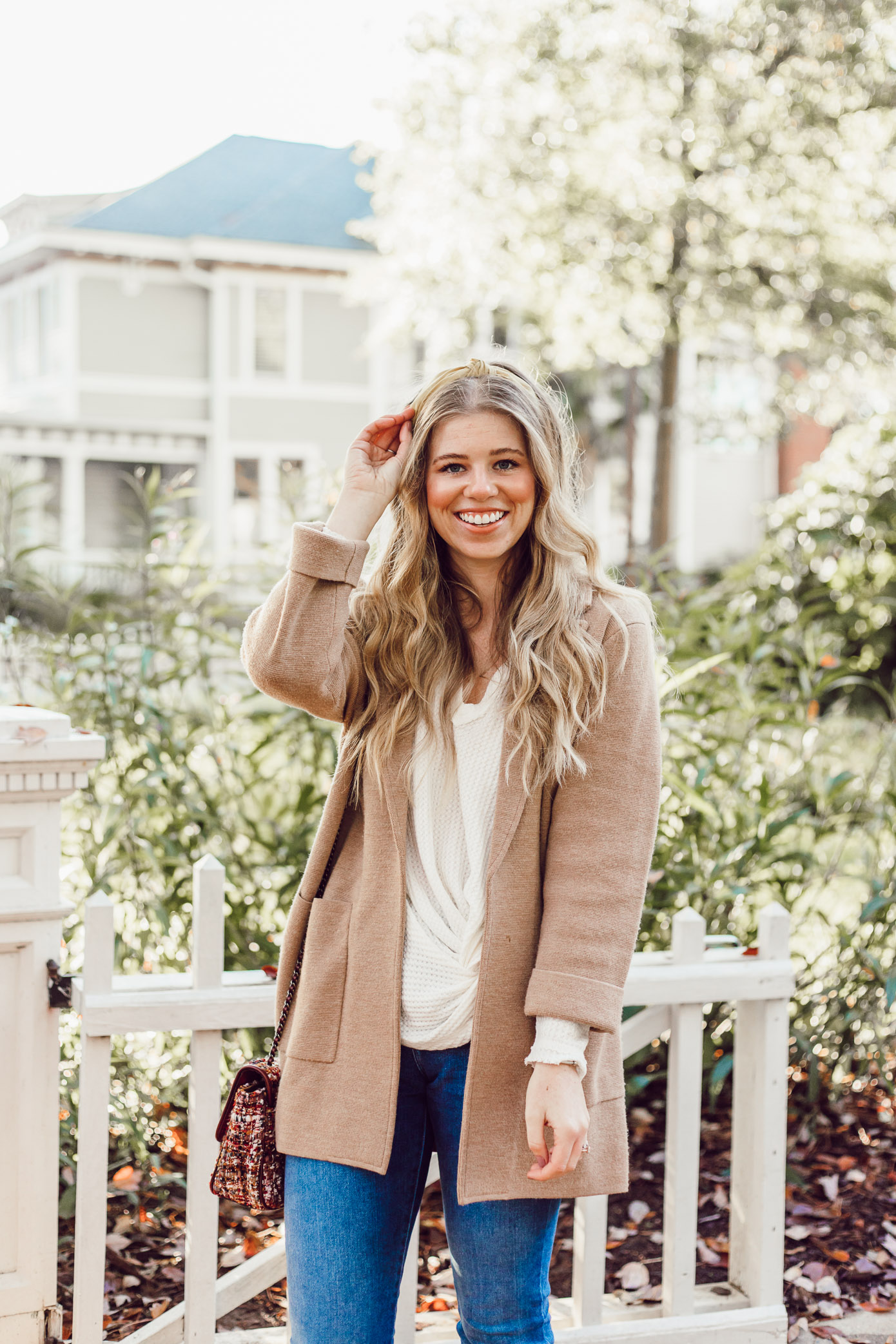 Casual Thanksgiving Outfit Inspiration | Styling a Headband for Fall, Casual Sweater Blazer featured on Louella Reese