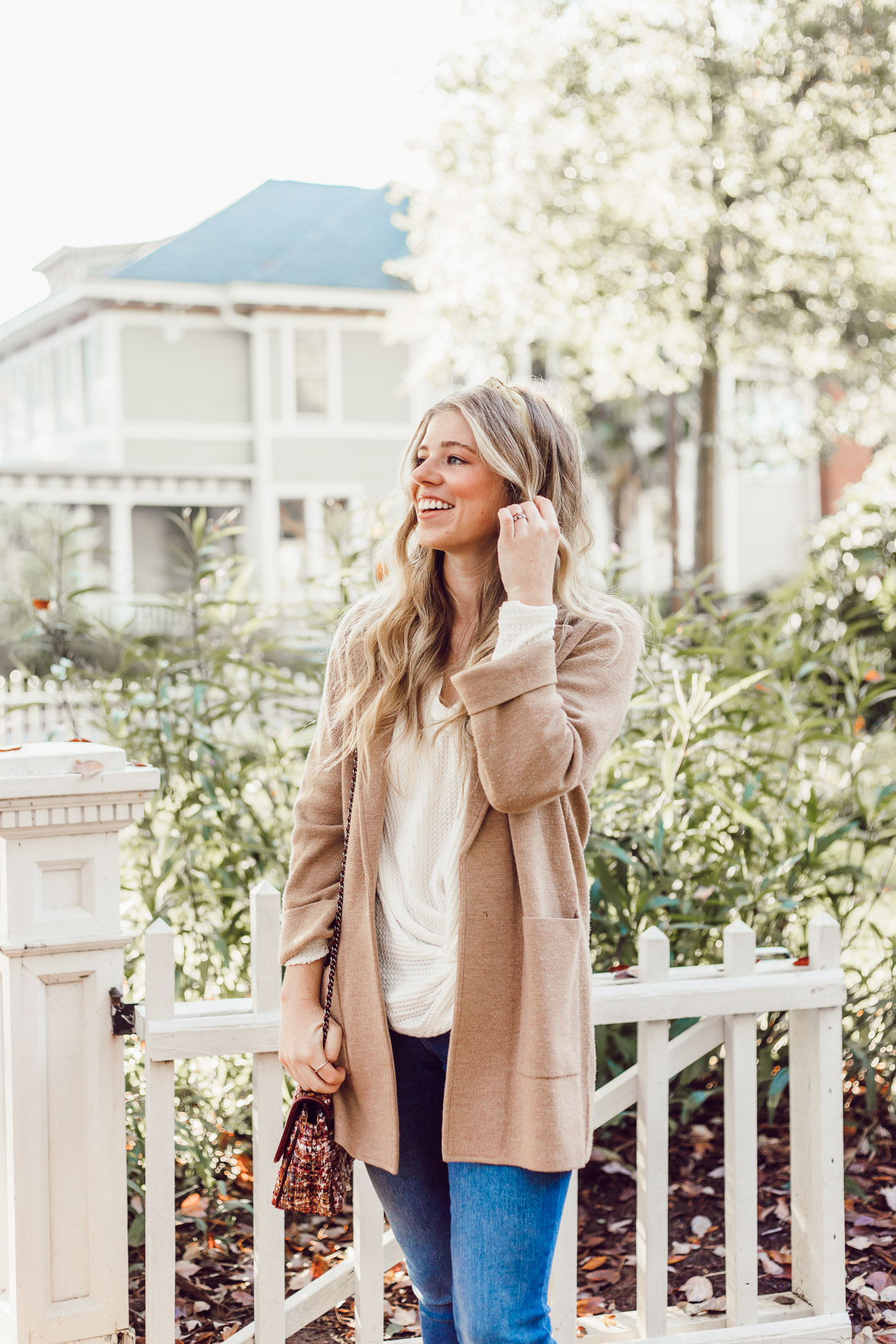 Casual Thanksgiving Outfit Inspiration | Casual Sweater Blazer featured on Louella Reese Life & Style Blog