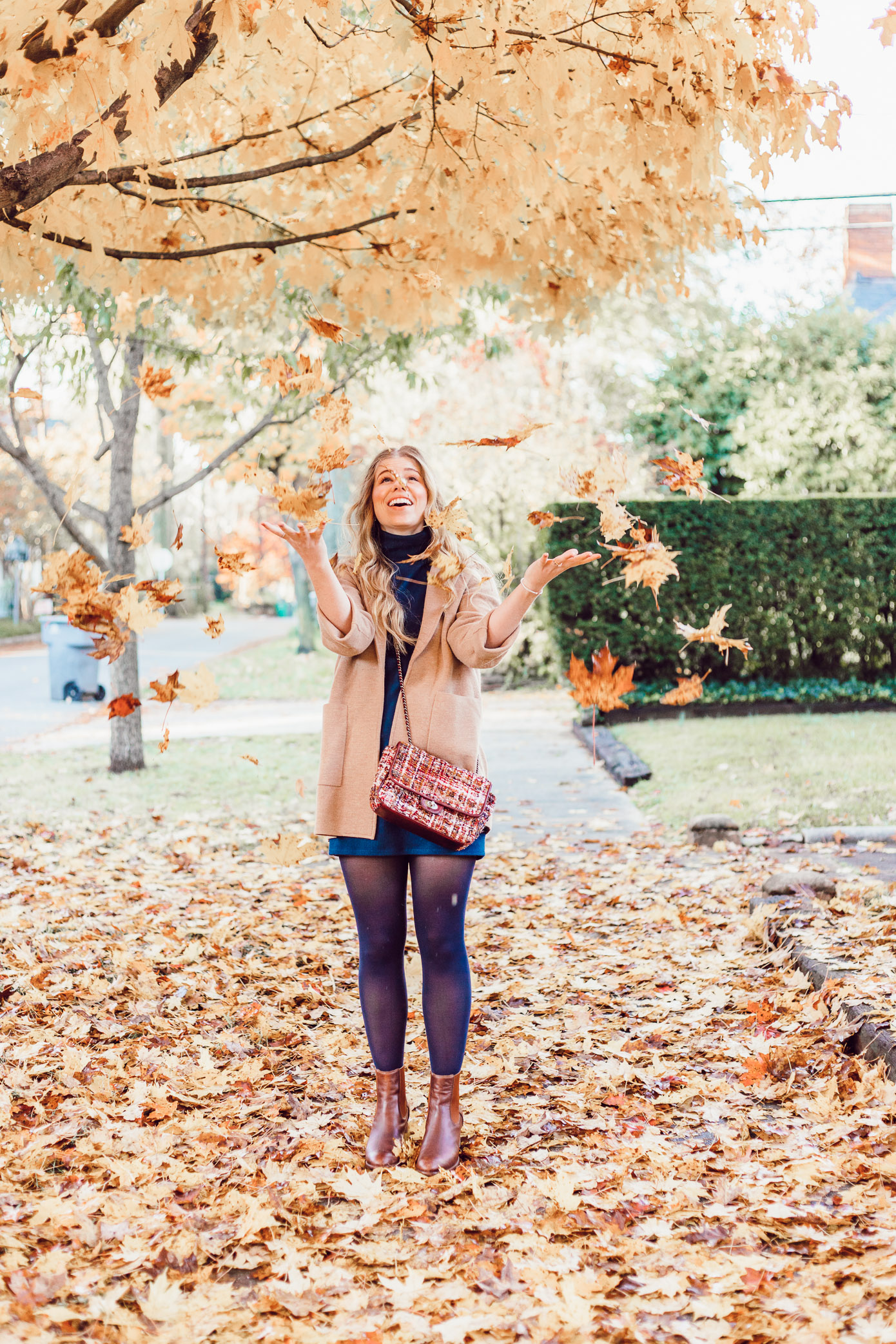 Transitional Fall to Winter Outfit Idea | How to Layer a Sweater Dress featured on Louella Reese Life & Style Blog