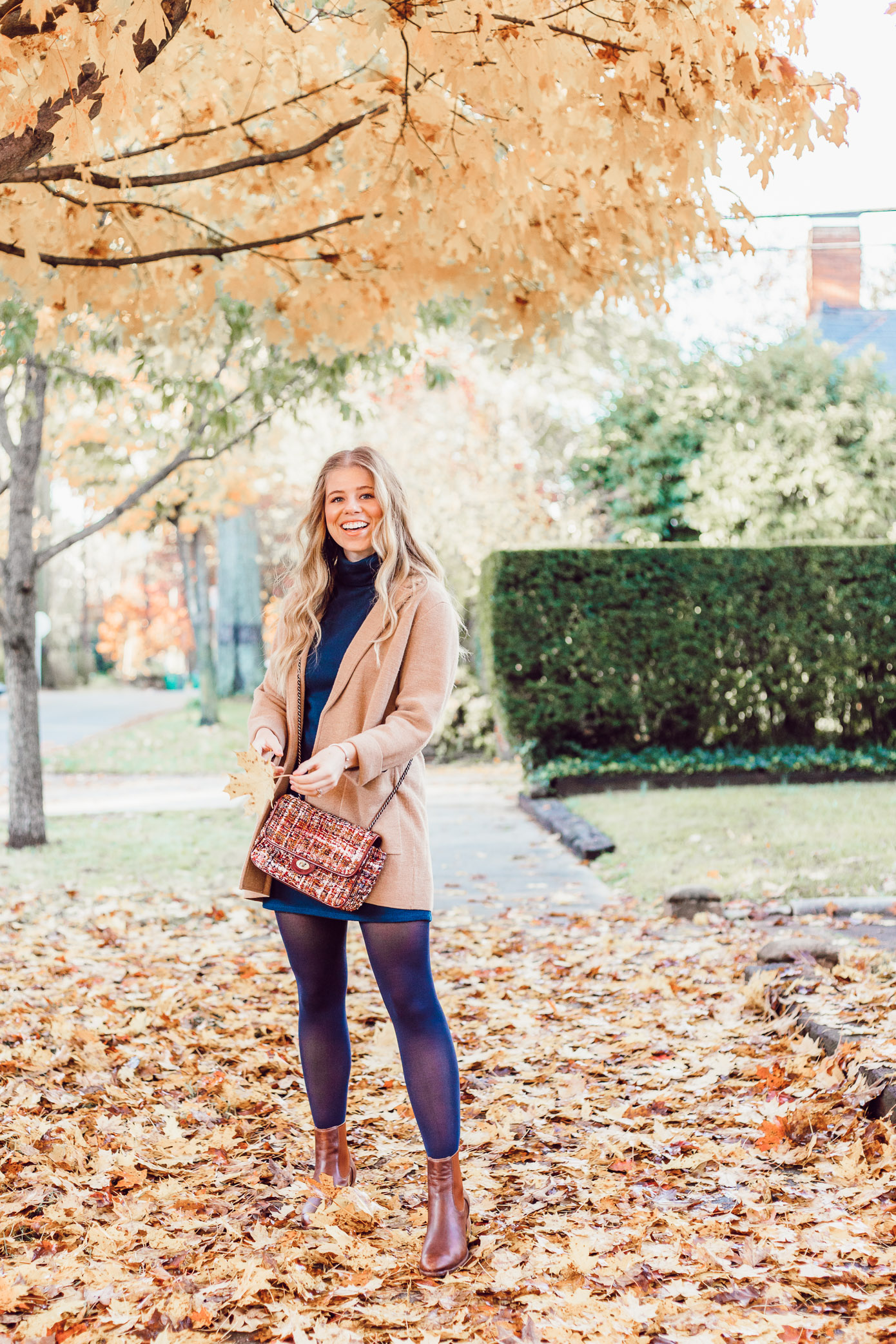 Transitional Fall to Winter Outfit Idea | How to Layer a Sweater Dress featured on Louella Reese