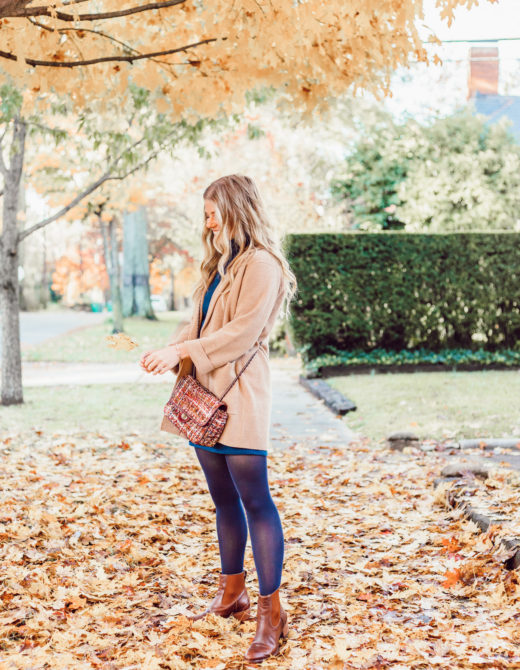 Navy Tights, Cognac Leather Ankle Boots | Transitional Fall to Winter Outfit Idea | How to Layer a Sweater Dress featured on Louella Reese Blog