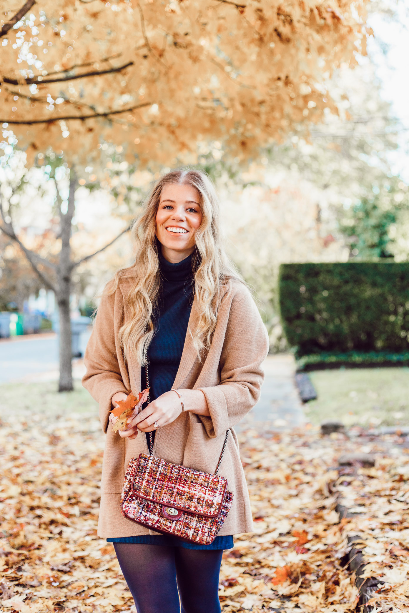 Transitional Fall to Winter Outfit Idea | How to Layer a Sweater Dress featured on Louella Reese Blog
