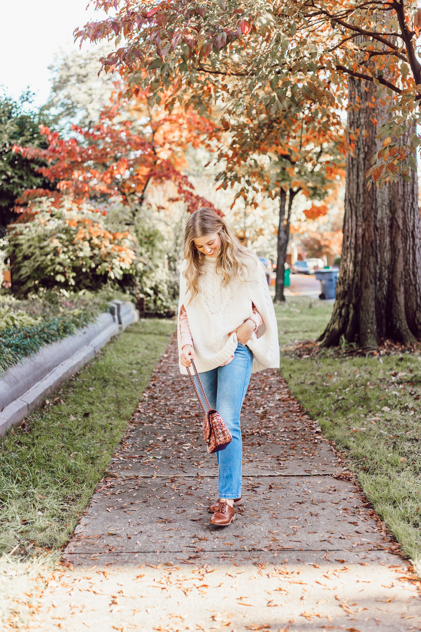 An Outfit That Will Hide Your Thanksgiving Food Baby | Sweater Poncho styled on Louella Reese Blog