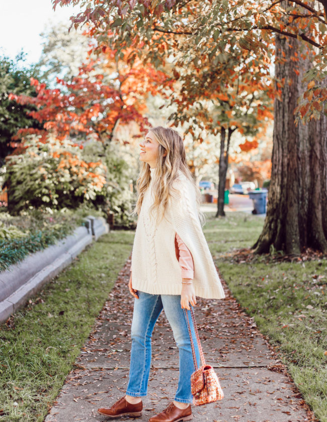 An Outfit That Will Hide Your Thanksgiving Food Baby | Sweater Poncho styled on Louella Reese