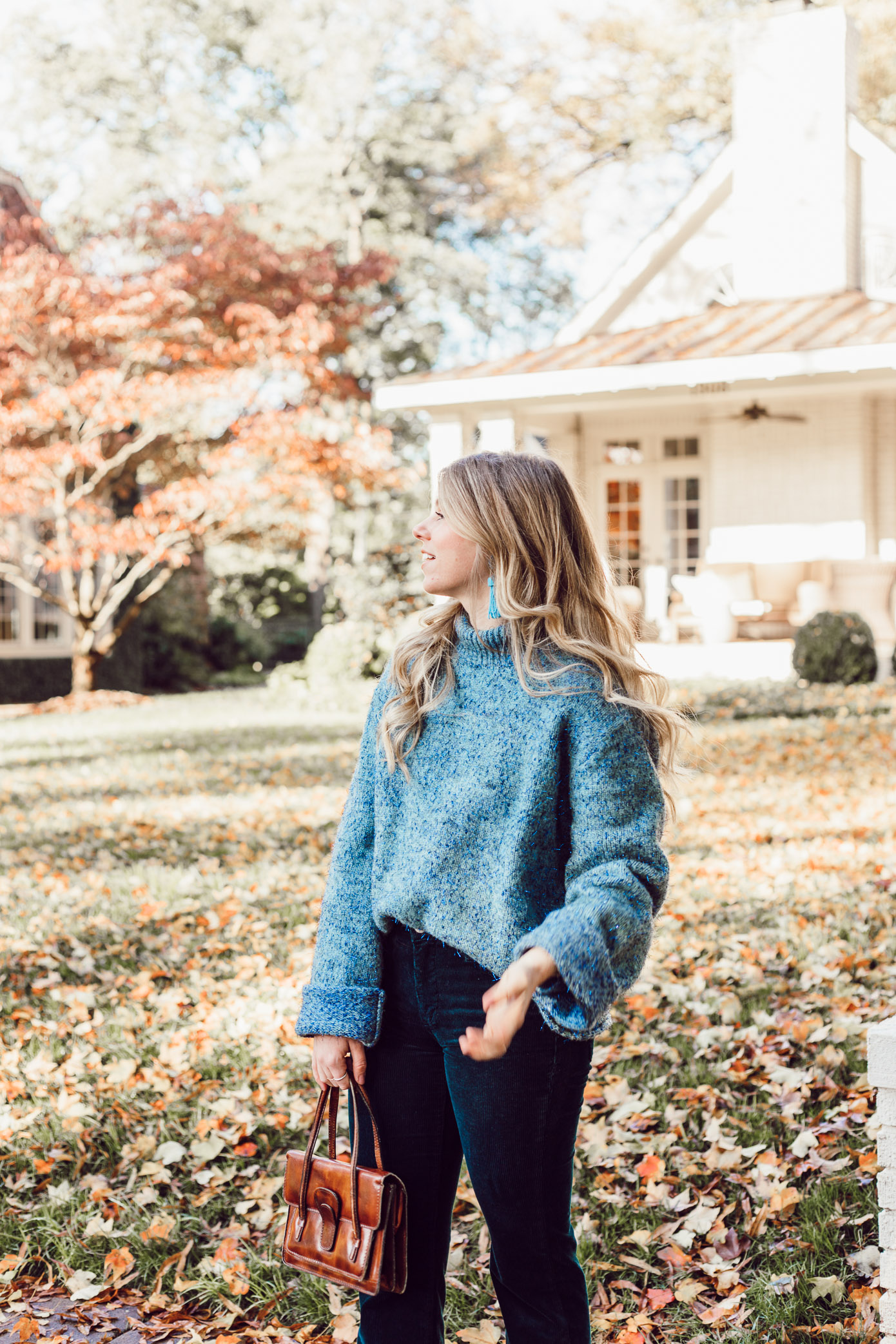 Anthropologie Sparkle Knit Turtleneck Sweater, Styling Corduroys for Winter | Must Try Winter Trend featured on Louella Reese