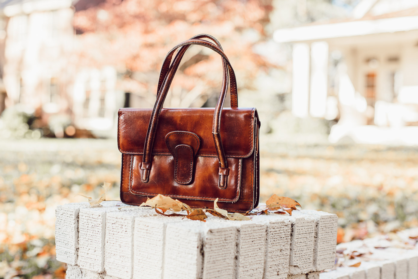 Vintage Handbag | Cognac Leather Handbag featured on Louella Reese