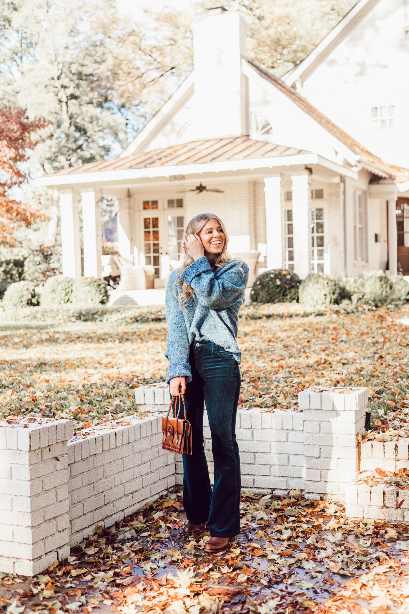Anthropologie Sparkle Knit Turtleneck Sweater, Styling Corduroys for Winter | Must Try Winter Trend featured on Louella Reese Blog