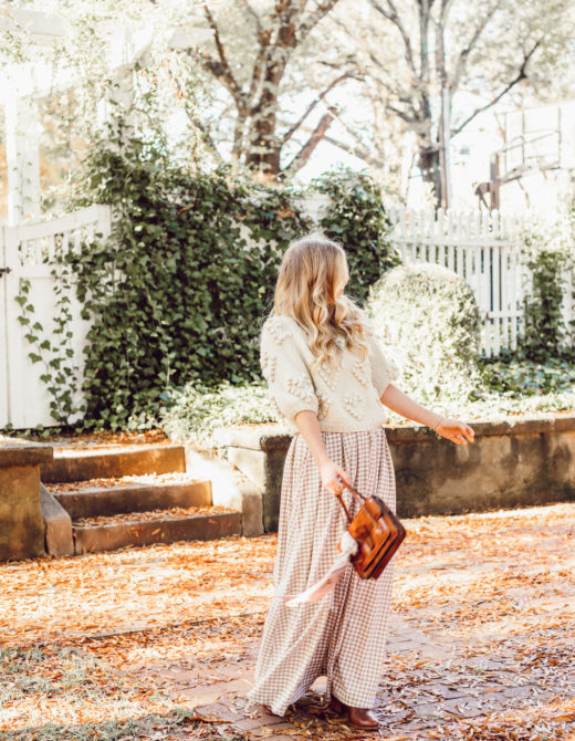 Spice Up Your Winter Date Night Look with a Winter Maxi Skirt featured on Louella Reese | Gingham Maxi Skirt