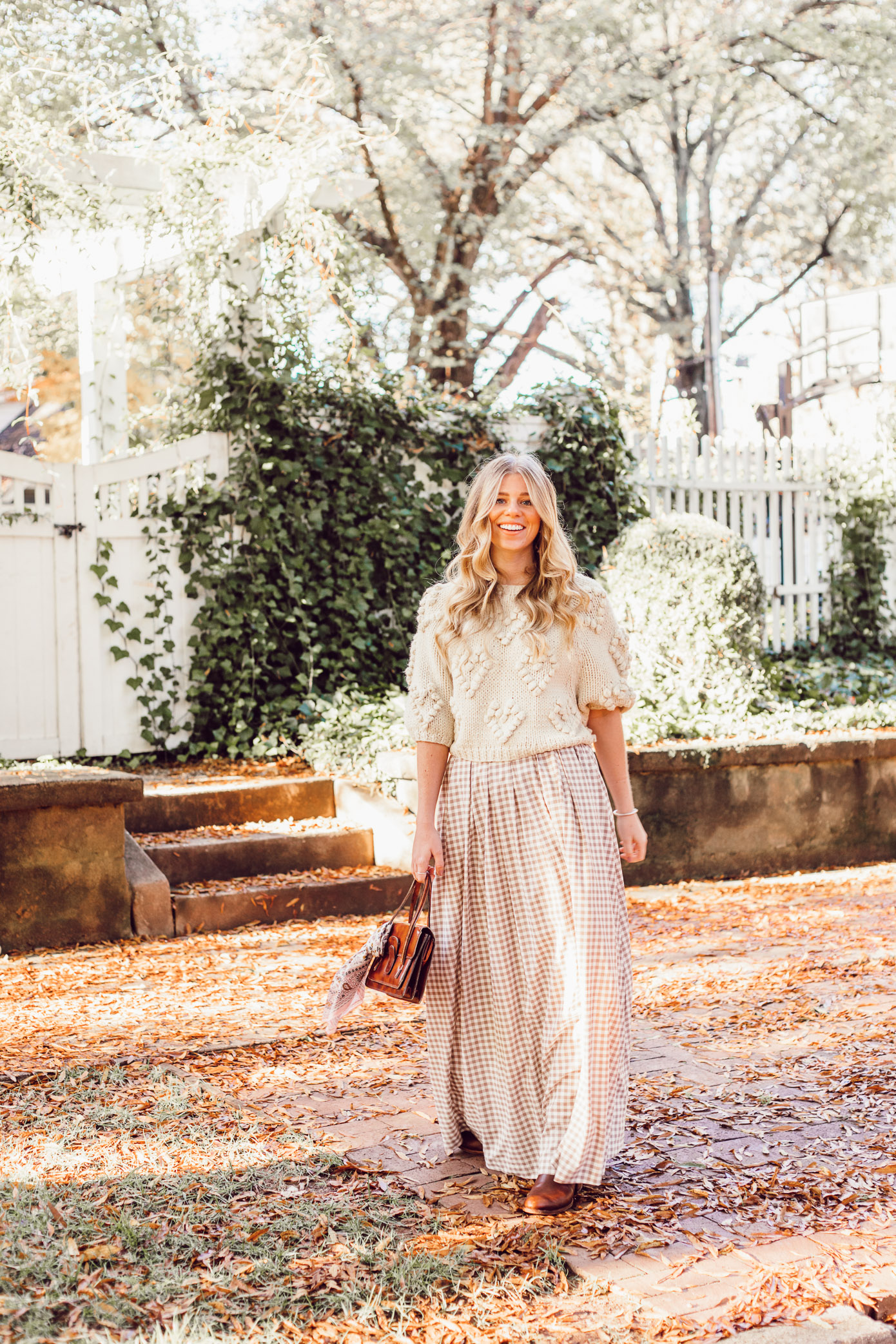 Spice Up Your Winter Date Night Look with a Winter Maxi Skirt featured on Louella Reese Blog | Gingham Maxi Skirt