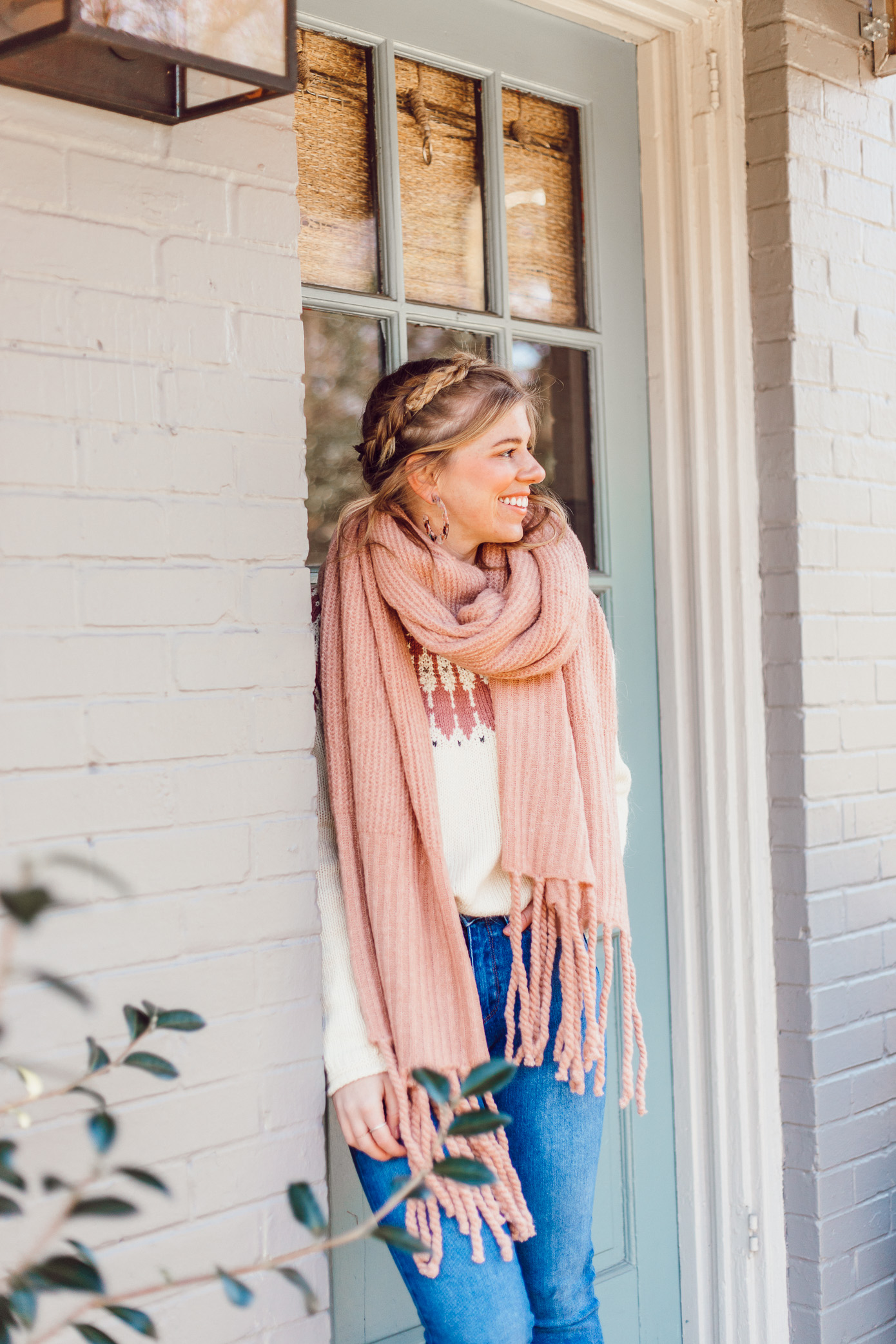 Blush Pink Oversized Scarf, Madewell Keaton Fair Isle Sweater | 10 Things I Want to Make Happen In 2019, 2019 Goals | Louella Reese