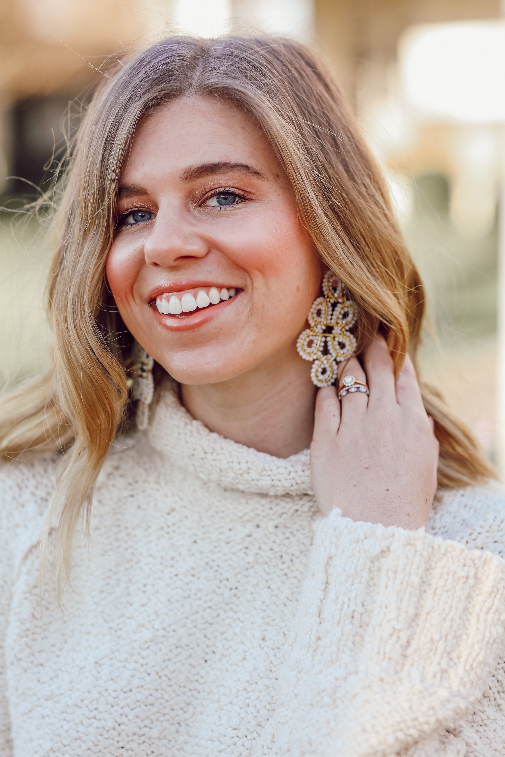 The Perfect Everyday Neutral Sweater   Lisi Lerch Ginger Earrings   Louella Reese