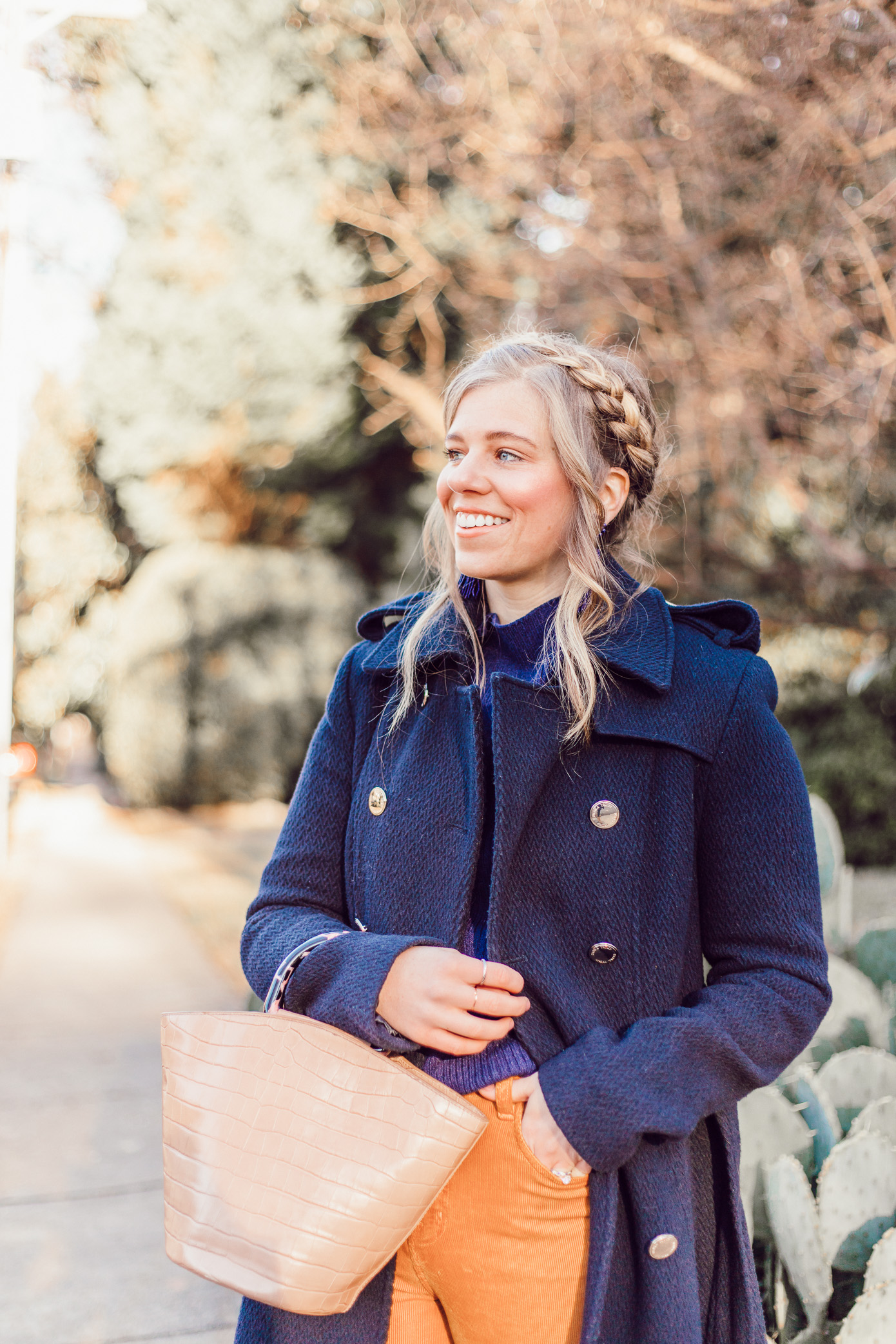 Navy Military Coat, Crown Braid | How to Style Wide-Leg Crop Pants featured on Louella Reese