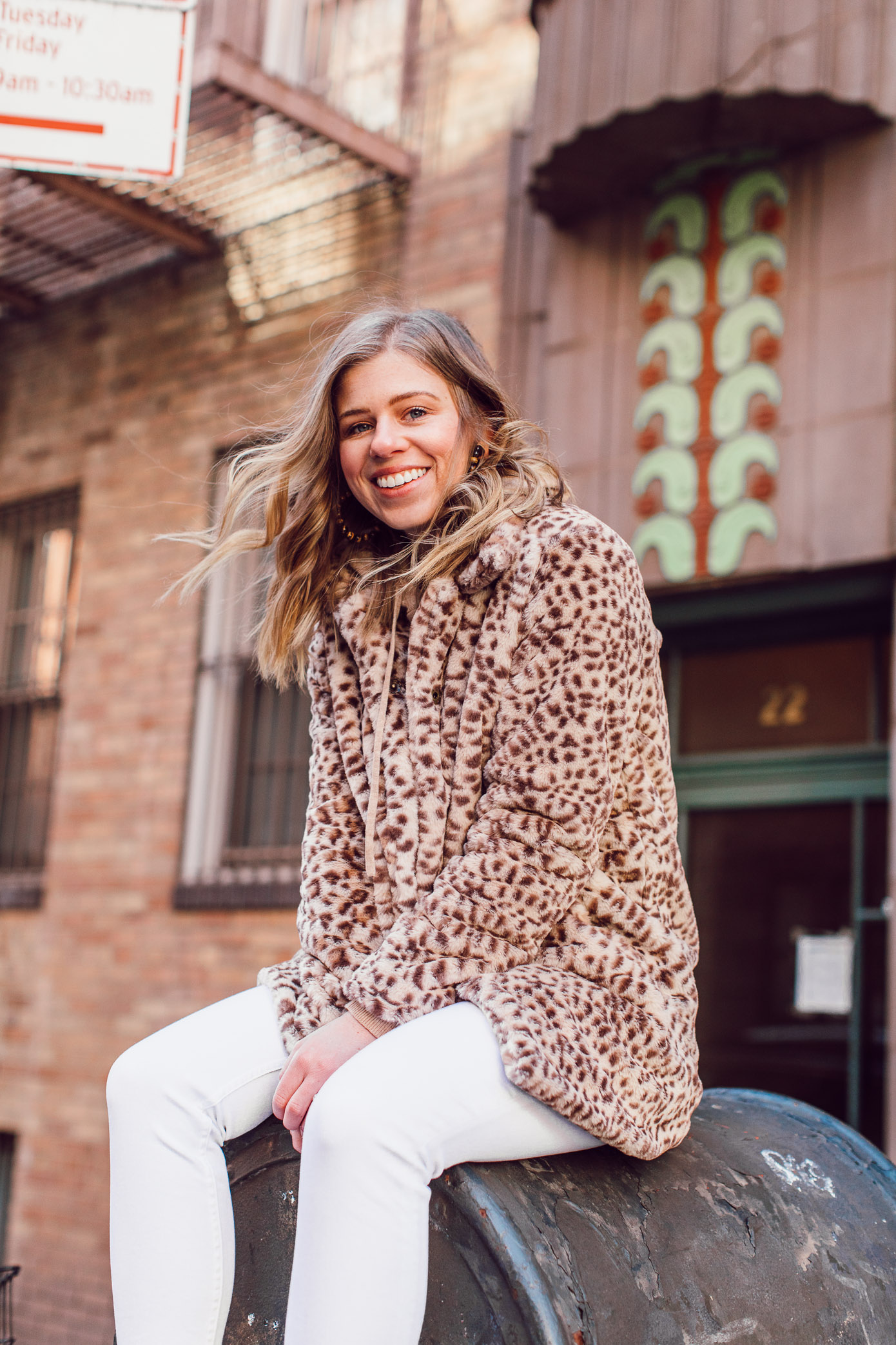 Leopard Faux Fur Coat, Cashmere Hoodie | Casual Travel Style featured on Louella Reese