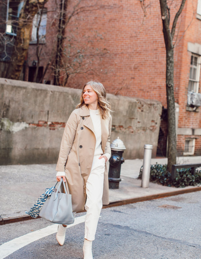Winter White Workwear Outfit Idea, Workwear Style | Trench Coat, White Sweater, White Slouchy Chinos, White Booties featured on Louella Reese Life & Style Blog
