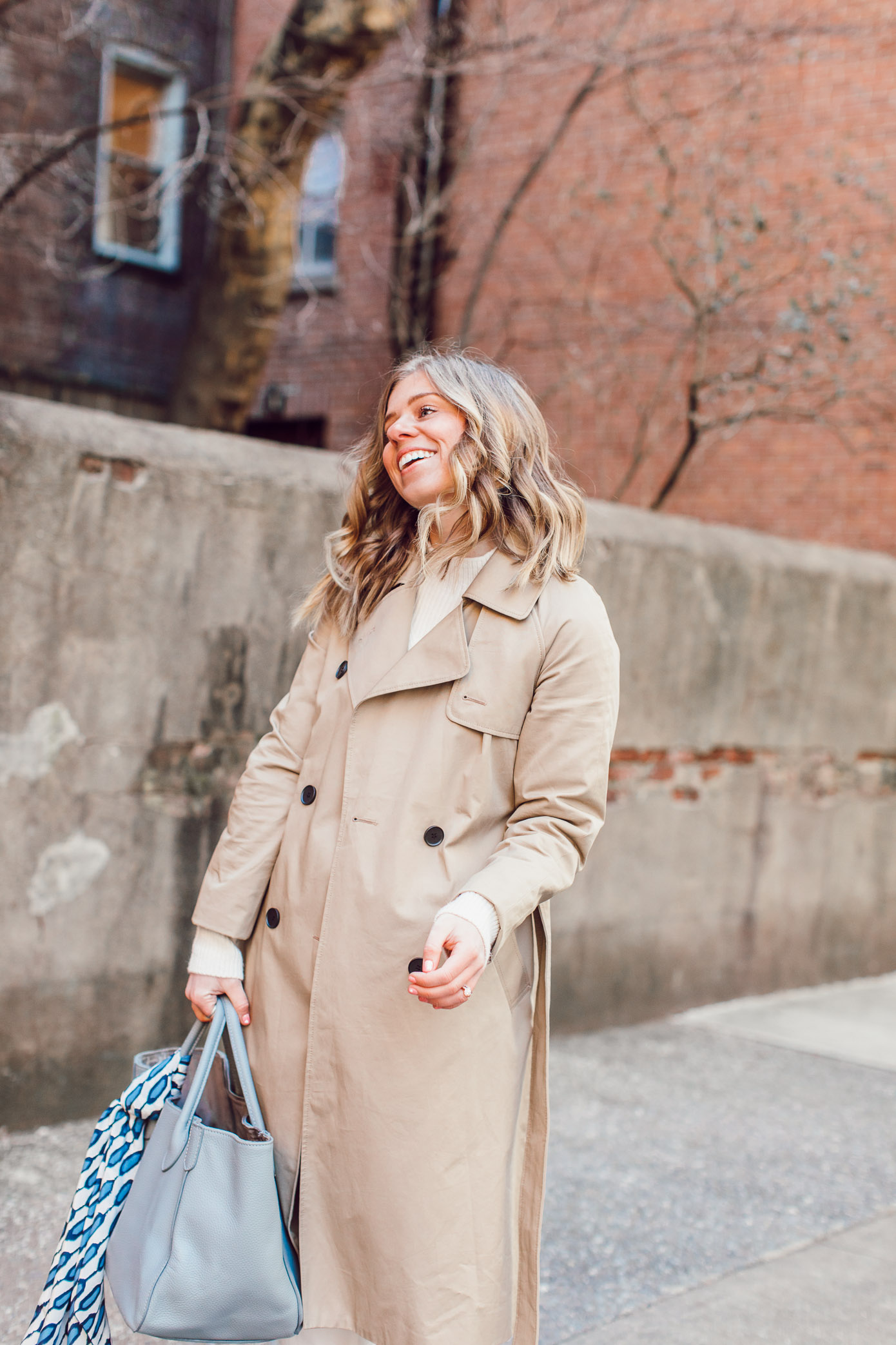 Winter White Workwear Outfit Idea, Workwear Style | The BEST Classic Trench Coat featured on Louella Reese Life & Style Blog