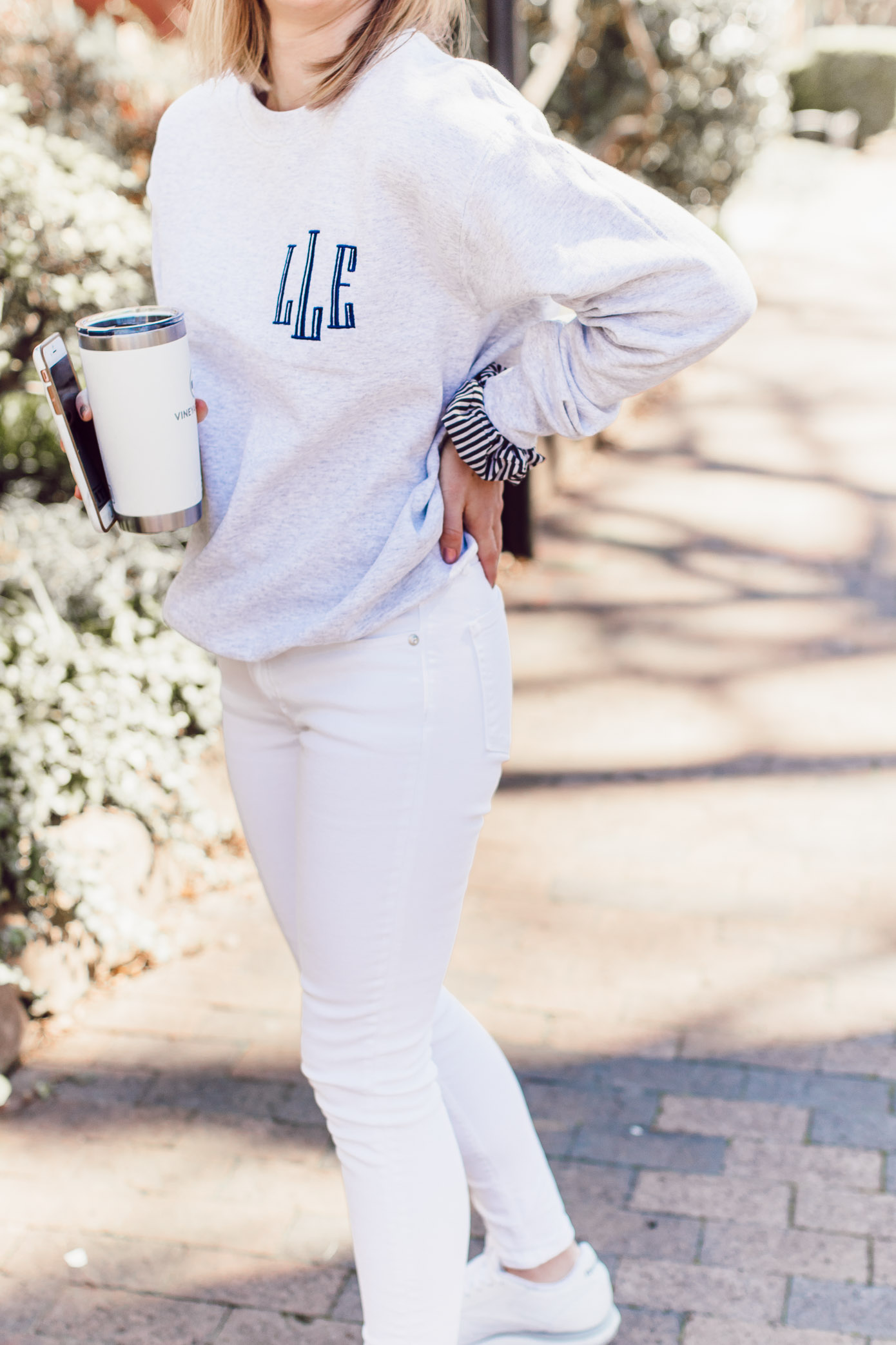 The BEST Monogrammed Pieces for Spring 2019 | Monogrammed Crewneck Sweatshirt, Skinny White Jeans styled on Louella Reese