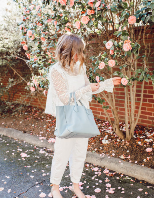 Easy white on white outfit ideas for spring | Louella Reese | Ft. Chicwish, Everlane, Beck Bags