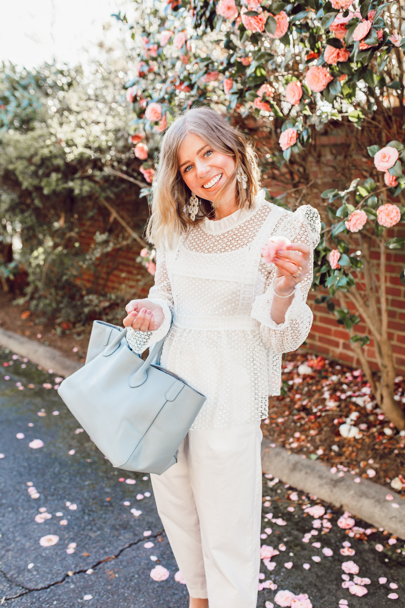 Easy white on white outfit ideas for spring   Louella Reese   Ft. Chicwish, Everlane, Beck Bags