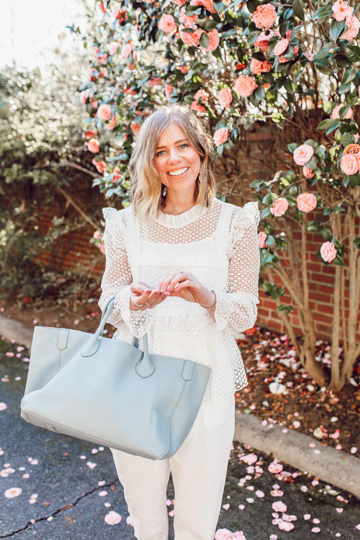 Feminine White Top Every Bride to Be Should Own   Louella Reese   Ft. Chicwish, Everlane, Beck Bags